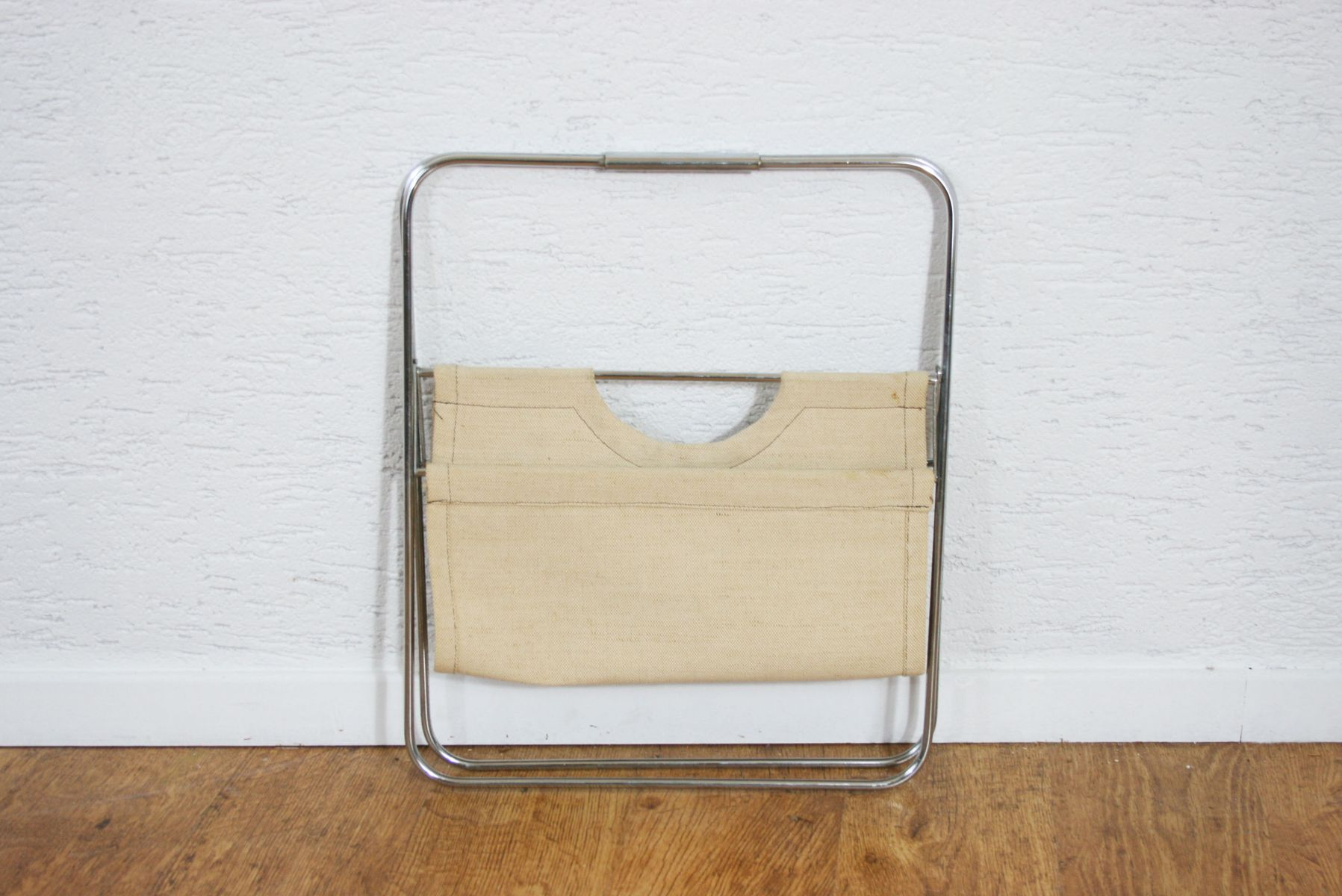 Vintage Magazine Rack in Metal and Fabric for sale at Pamono