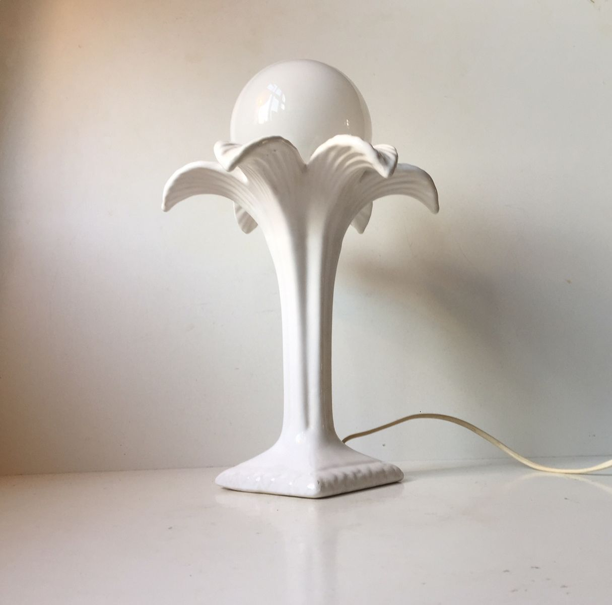 Vintage danish white palm tree table lamp by michael andersen vintage danish white palm tree table lamp by michael andersen son for mas 1970s mozeypictures Images