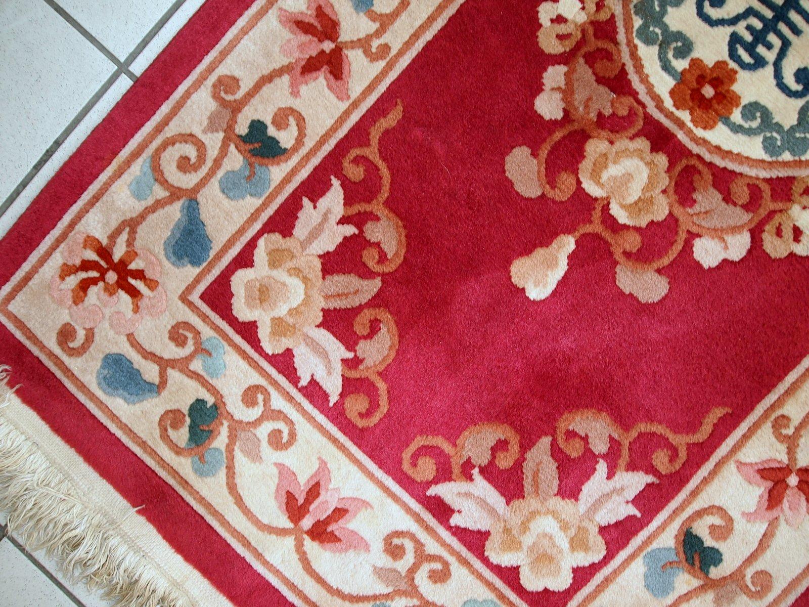handgemachter chinesischer vintage art deco teppich 1970er bei pamono kaufen. Black Bedroom Furniture Sets. Home Design Ideas