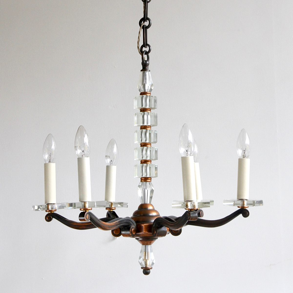 Copper and crystal chandelier 1930s for sale at pamono copper and crystal chandelier 1930s mozeypictures Gallery