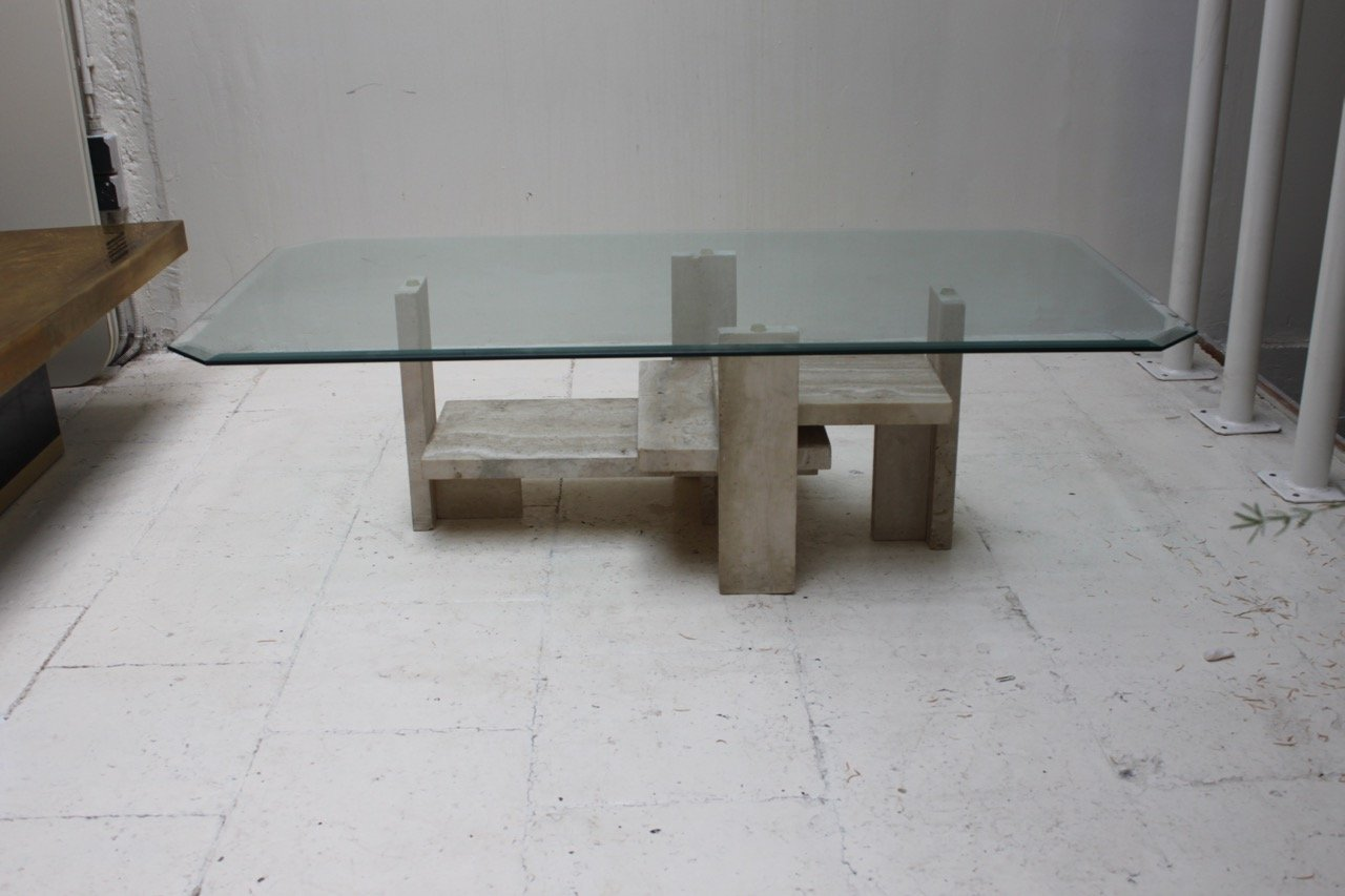table basse en travertin par willy ballez 1970s en vente. Black Bedroom Furniture Sets. Home Design Ideas