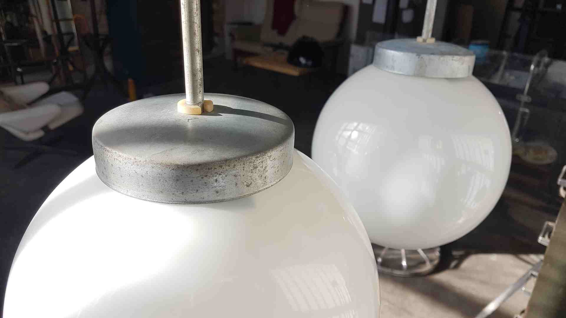 Industrial spherical milky glass pendant from polam 1950s for sale price per piece aloadofball Gallery