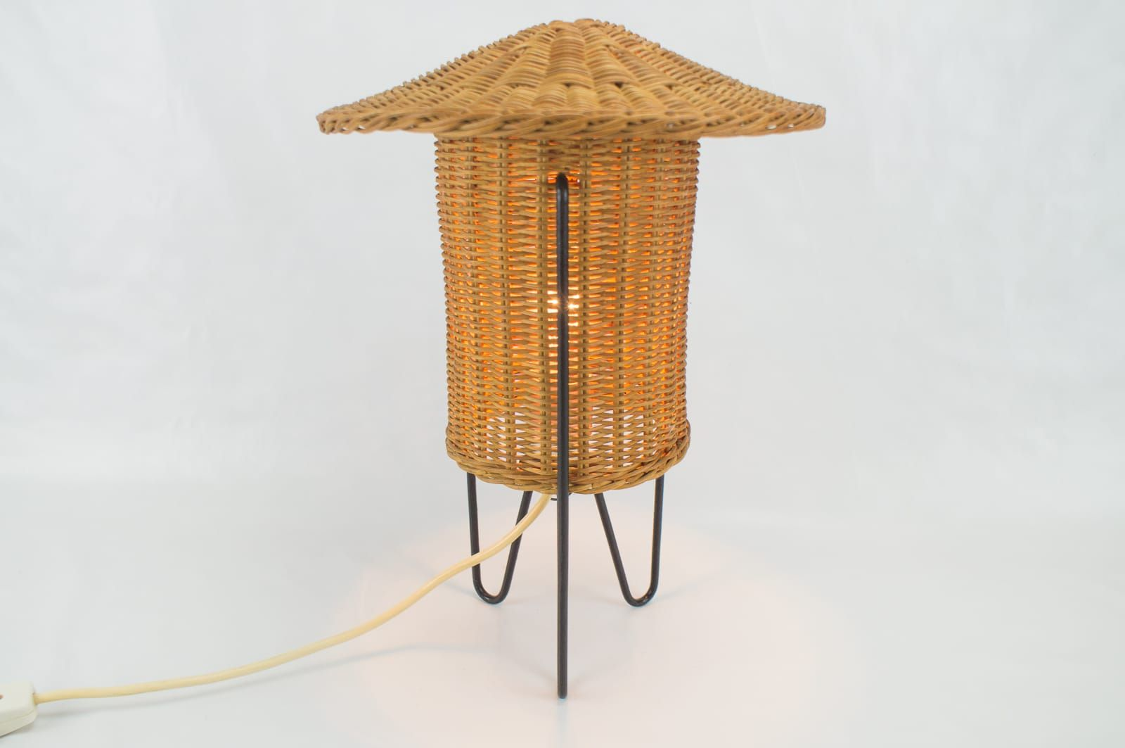 Austrian rattan table lamp 1950s for sale at pamono austrian rattan table lamp 1950s aloadofball Choice Image