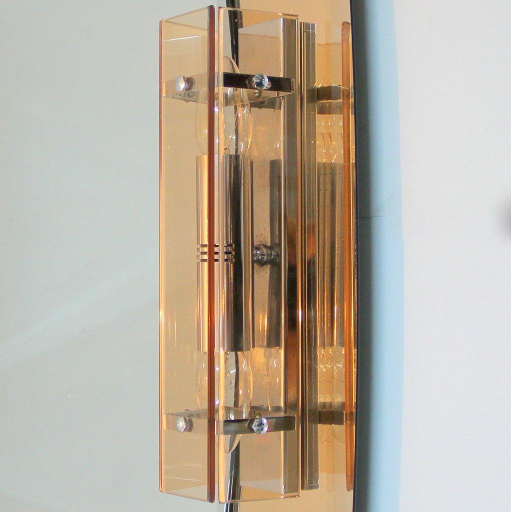 italienischer vintage spiegel mit lampen von veca bei. Black Bedroom Furniture Sets. Home Design Ideas