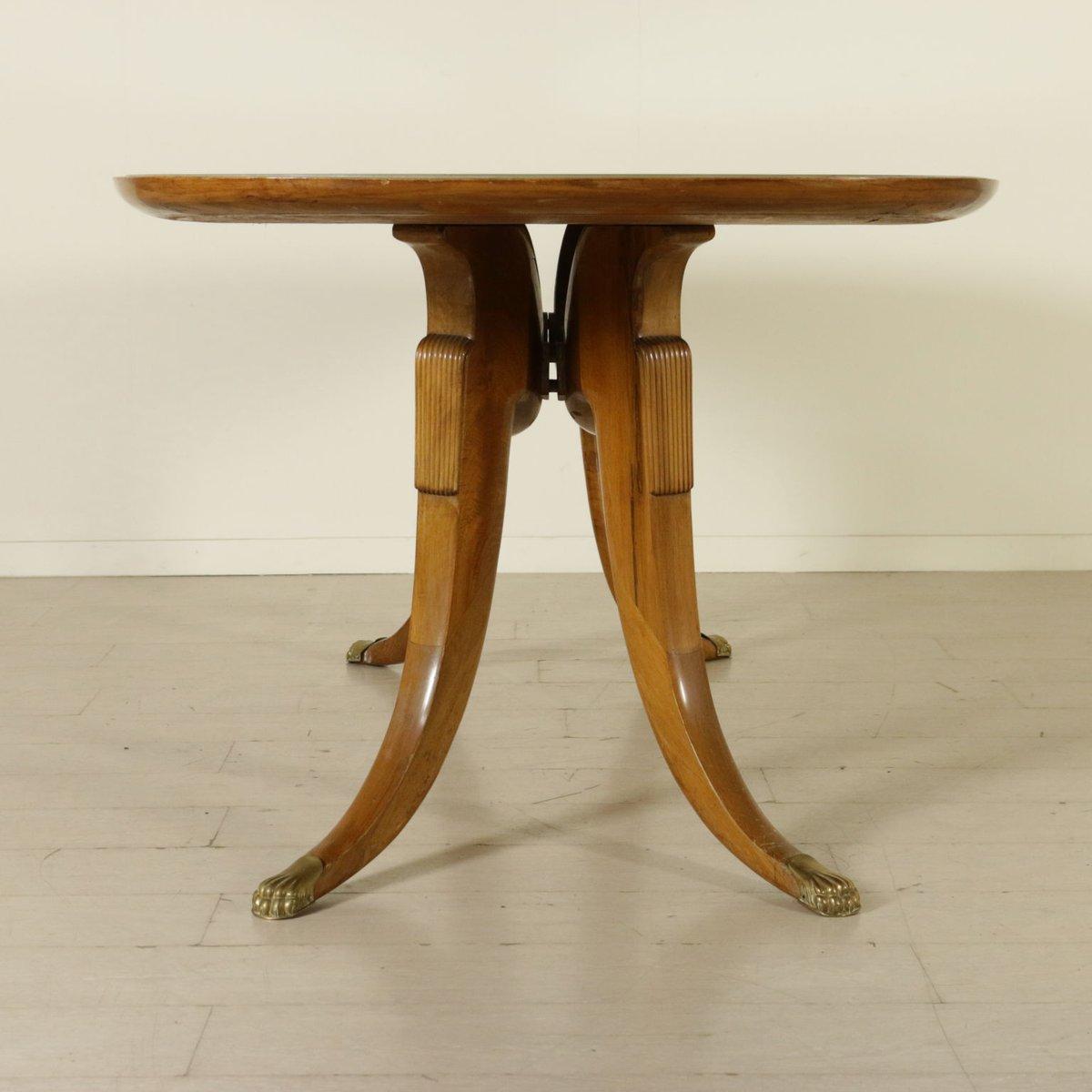 Italienischer vintage buchenholz tisch mit glasplatte und for Tisch marmoroptik