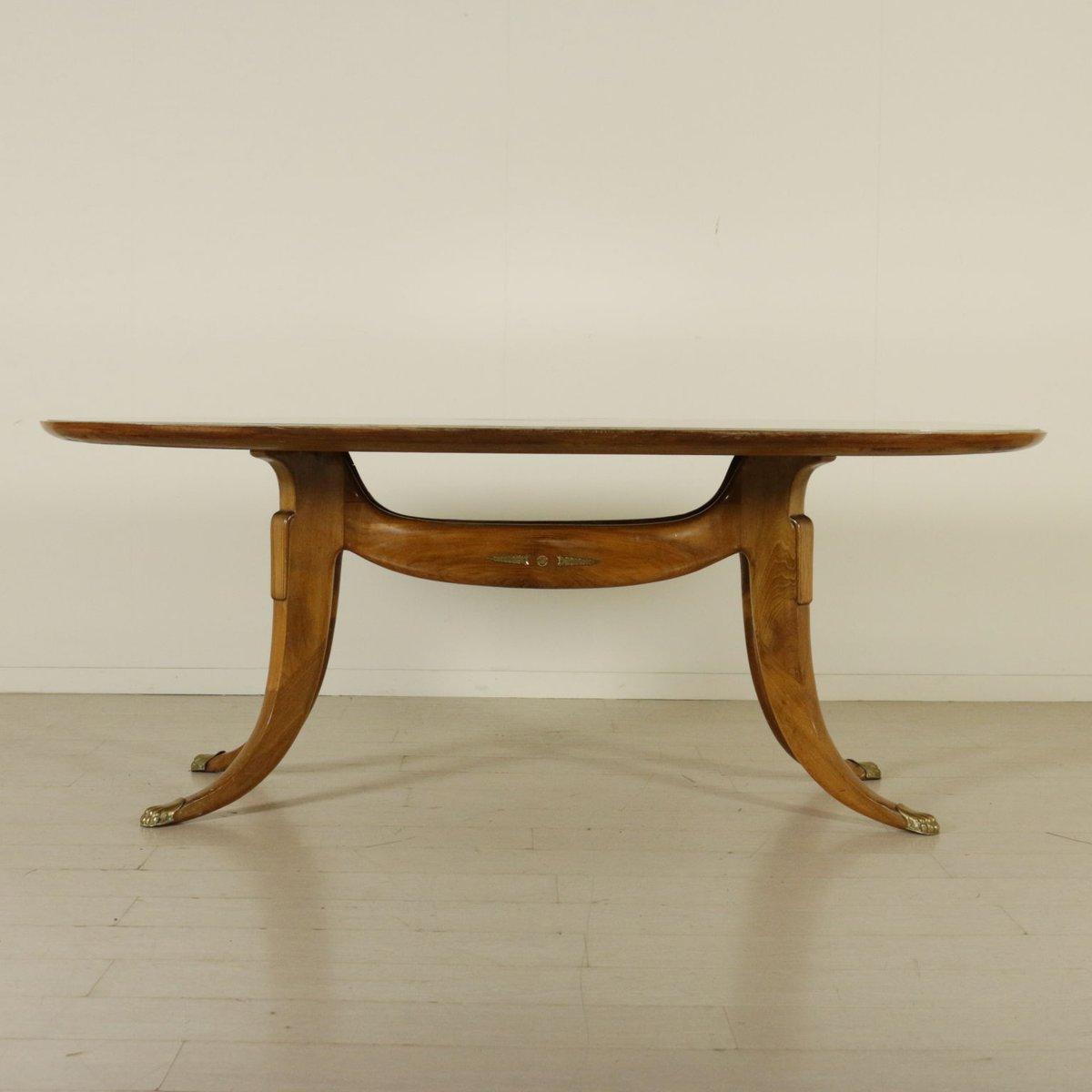 Italienischer vintage buchenholz tisch mit glasplatte und for Tisch rund marmor