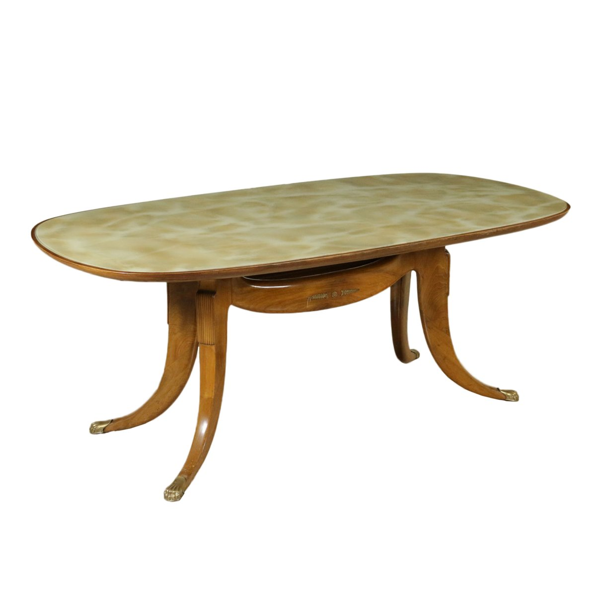 italienischer vintage buchenholz tisch mit glasplatte und. Black Bedroom Furniture Sets. Home Design Ideas
