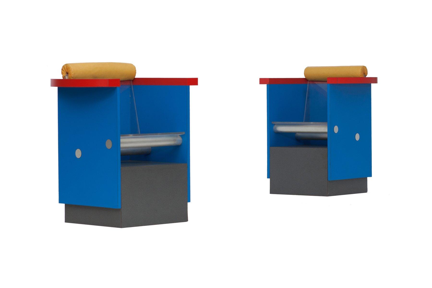 armlehnst hle in blau rot und gelb 1980er 2er set bei pamono kaufen. Black Bedroom Furniture Sets. Home Design Ideas