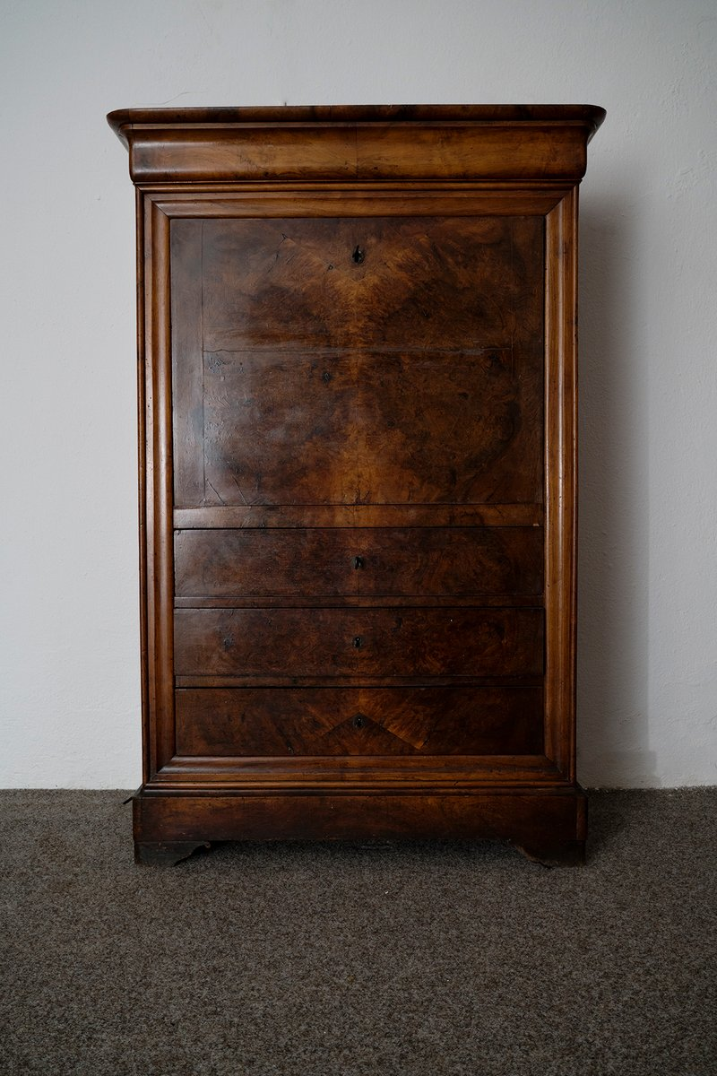 louis philippe secretaire in walnut for sale at pamono. Black Bedroom Furniture Sets. Home Design Ideas