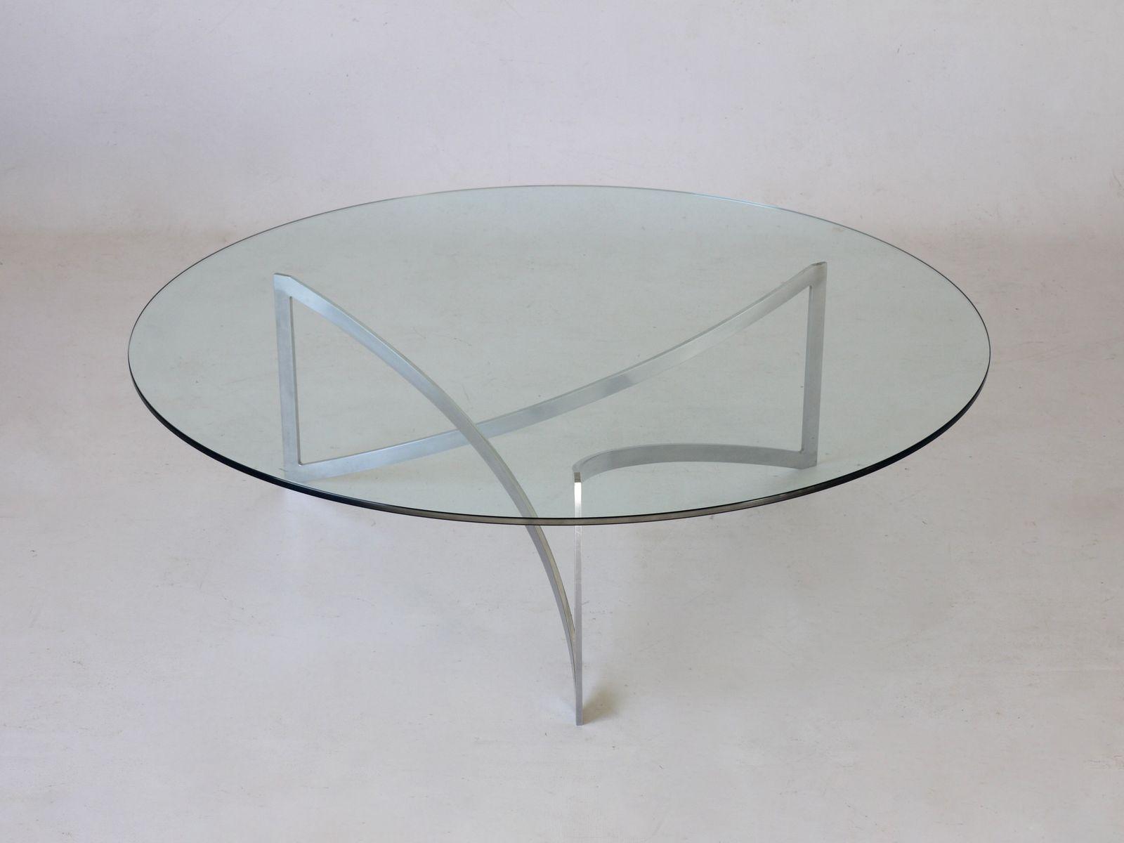 German Chrome & Glass Coffee Table 1970s for sale at Pamono
