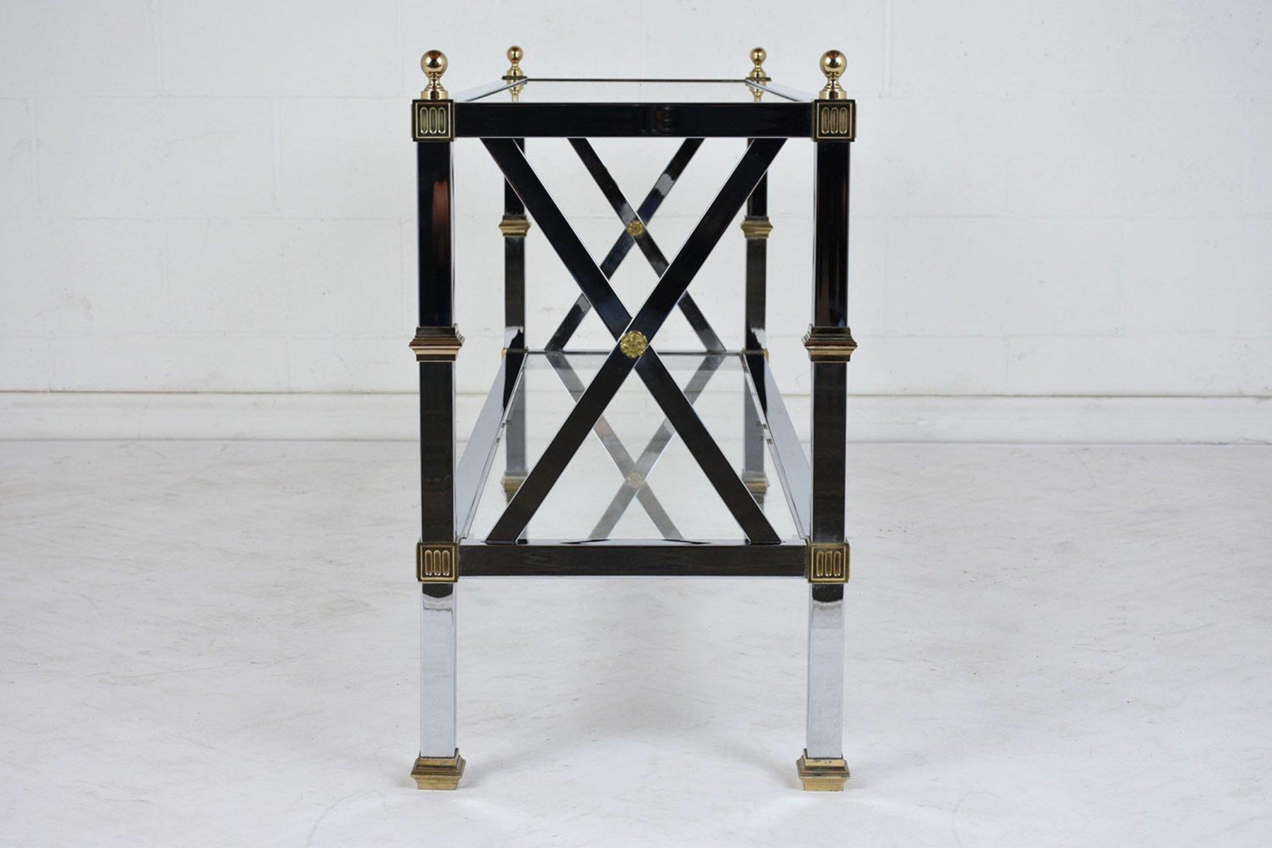 beistelltisch aus chrom glas 1970er bei pamono kaufen. Black Bedroom Furniture Sets. Home Design Ideas