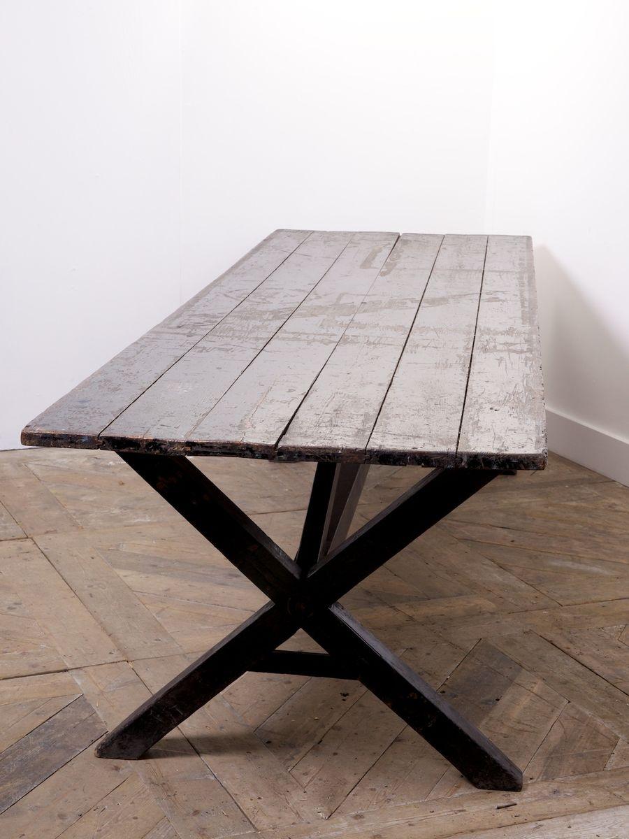 antiker tisch mit x gestell bei pamono kaufen. Black Bedroom Furniture Sets. Home Design Ideas