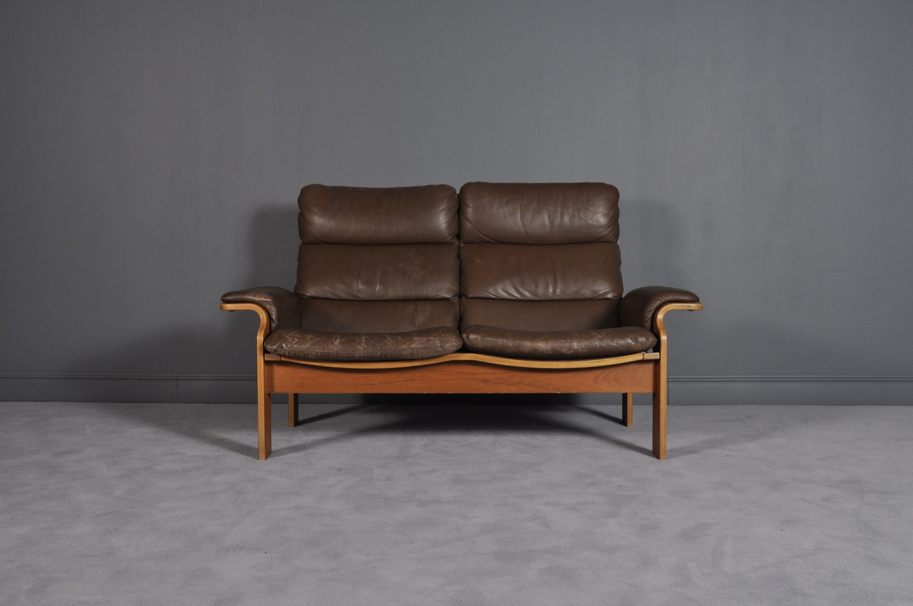 Norwegian Bentwood & Leather Loveseat, 1960s for sale at Pamono
