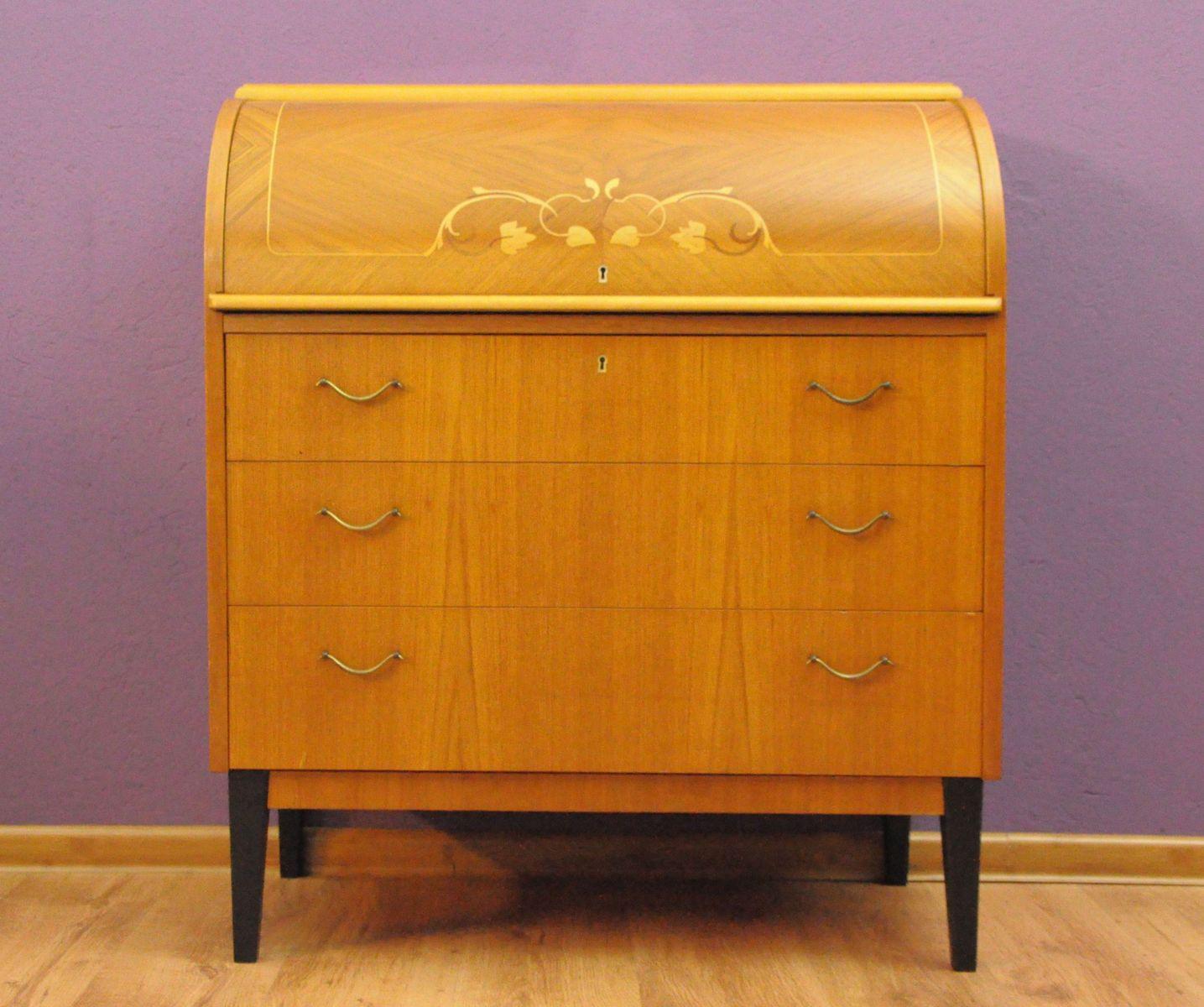 schwedischer mid century sekret r mit rollfach bei pamono kaufen. Black Bedroom Furniture Sets. Home Design Ideas
