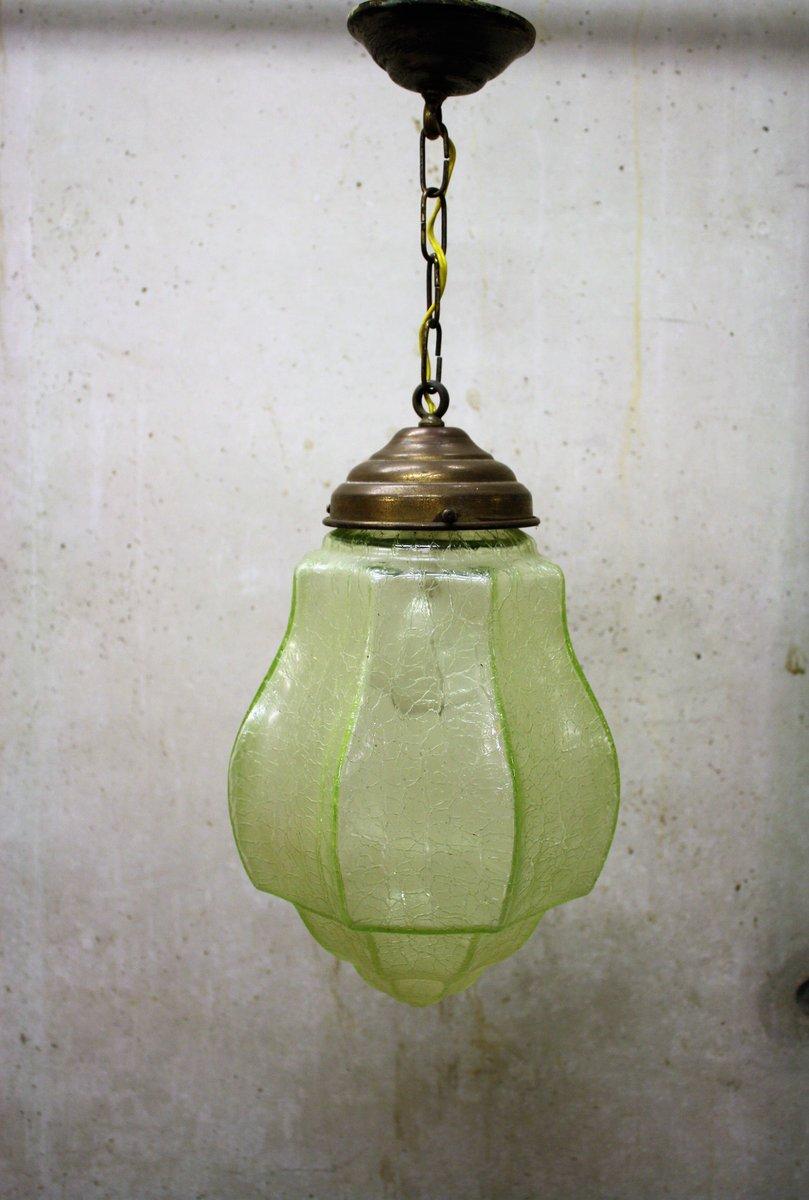 Green art deco pendant light with crackle glass 1930s for sale at green art deco pendant light with crackle glass 1930s aloadofball Choice Image
