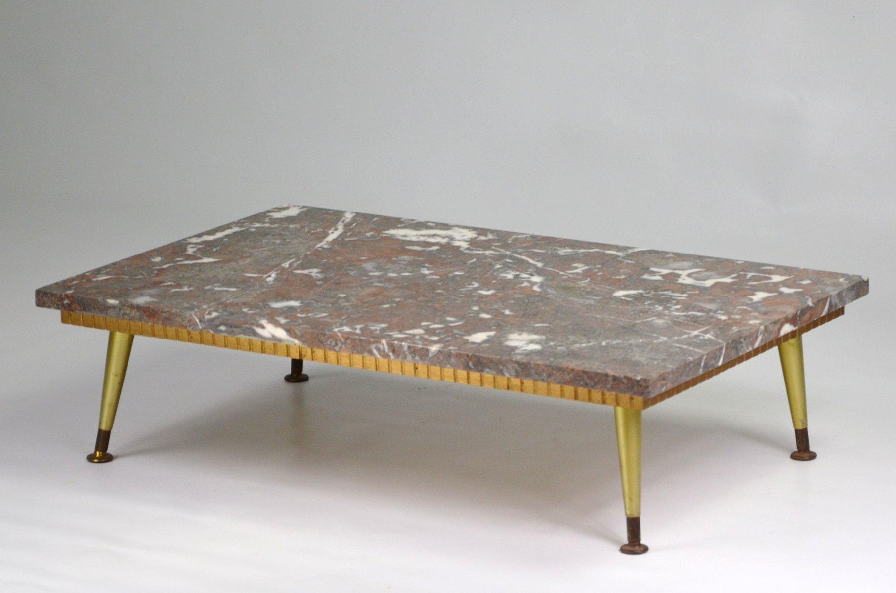 Table Basse Avec Plateau En Marbre 1950s En Vente Sur Pamono