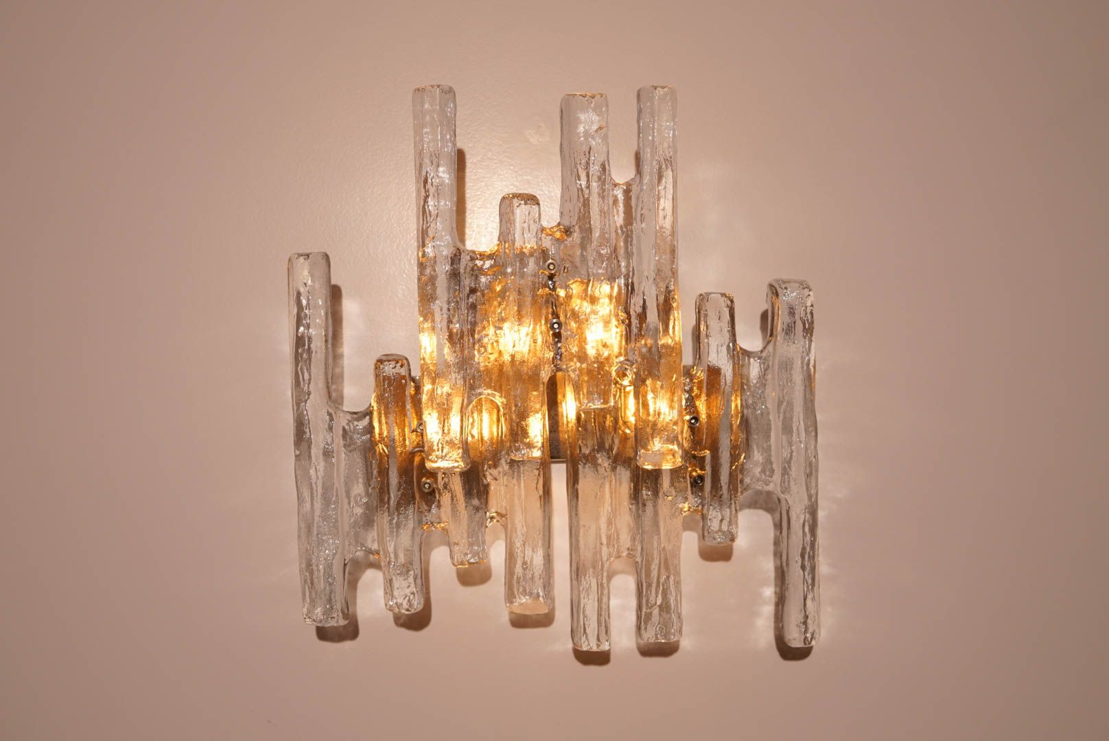 Vintage Ice Glass Wall Sconce By J. T. Kalmar For Sale At Pamono