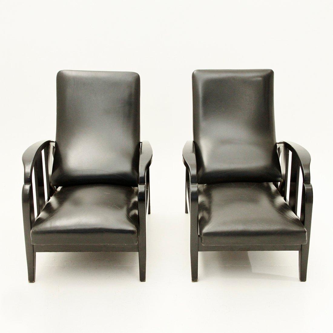 schwarze art deco leder sessel 1930er 2er set bei pamono. Black Bedroom Furniture Sets. Home Design Ideas
