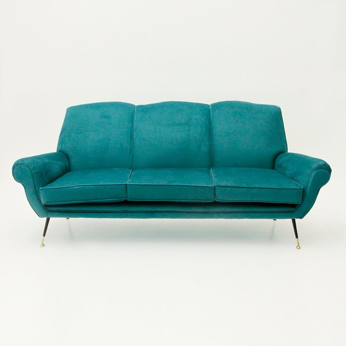 italienisches 3 sitzer sofa aus samt 1950er bei pamono kaufen. Black Bedroom Furniture Sets. Home Design Ideas