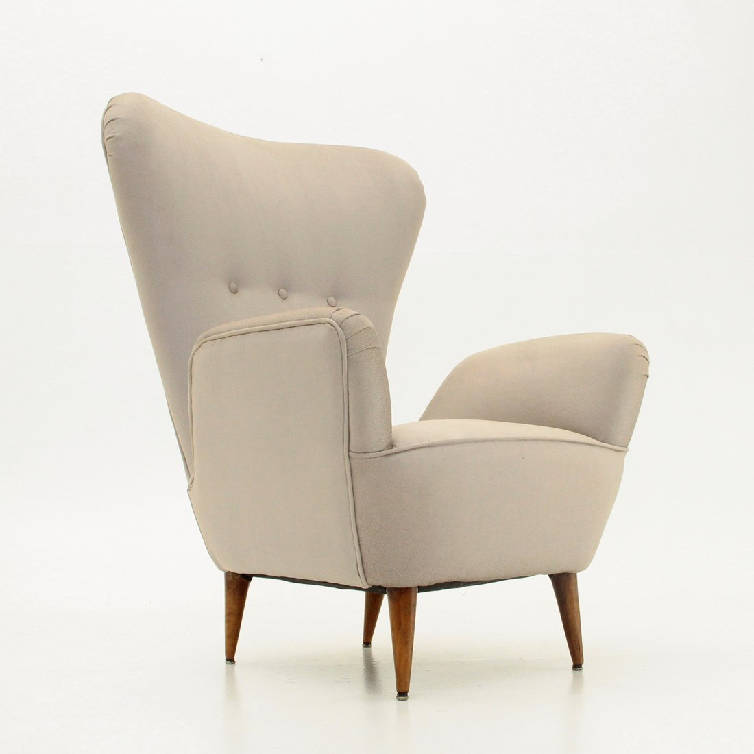 Italian Highback Armchair With Conical Shape Legs, 1950s