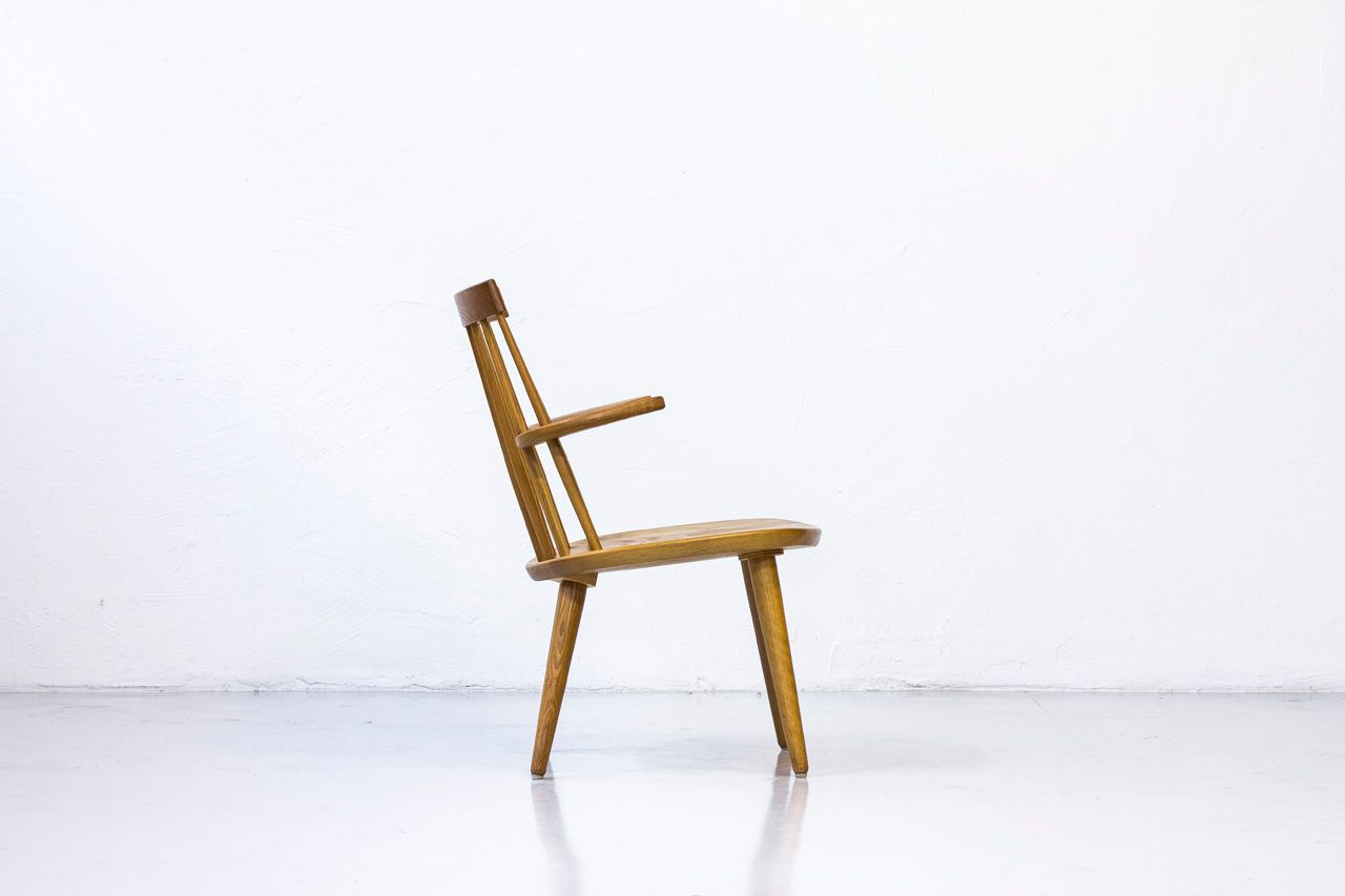 Sibbo Armchair in Solid Oak by Yngve Ekström for Stolab, 1960s for sale at Pamono