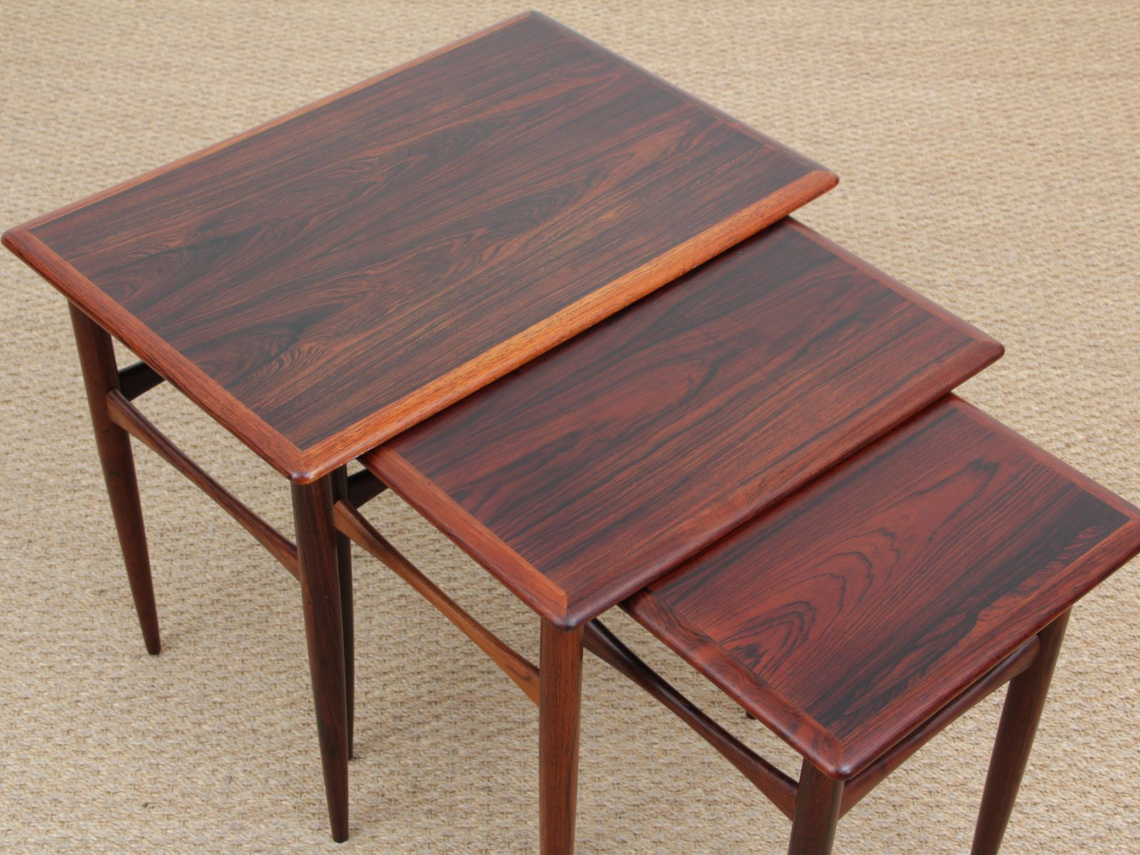 Mid Century Modern Scandinavian Nesting Tables In Rio Rosewood By Poul  Hundevad, 1960s