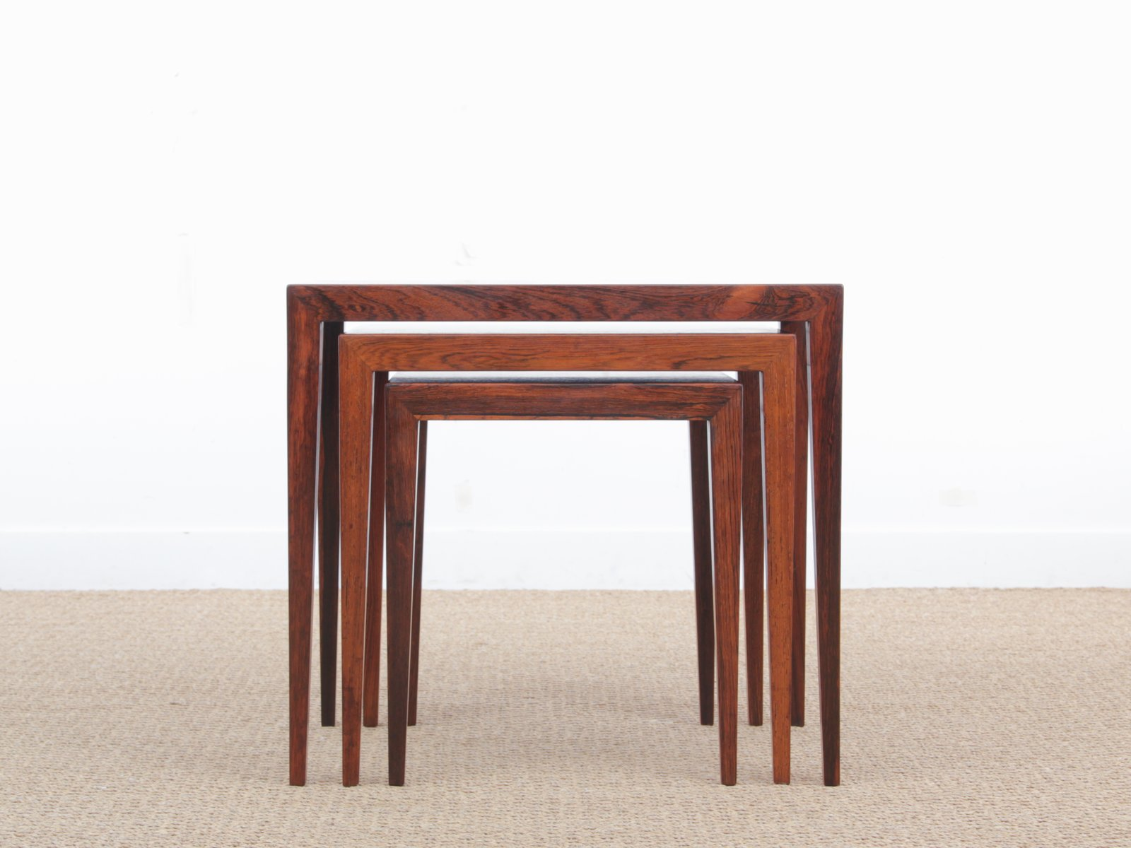 Mid Century Modern Nesting Tables In Rio Rosewood By Severin Hansen For  Haslev Mobelfabrik, 1960s