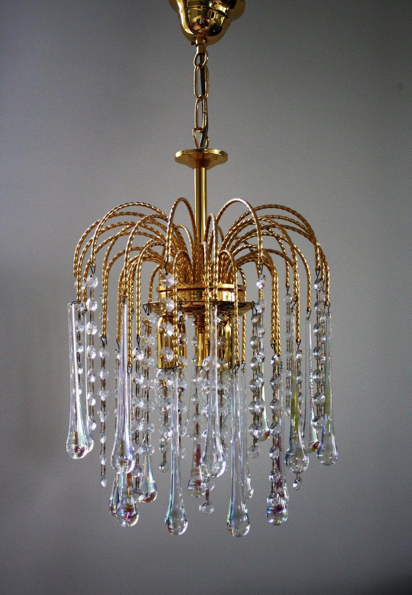 Lampadario vintage con gocce in cristallo di Murano, anni \'60 in ...