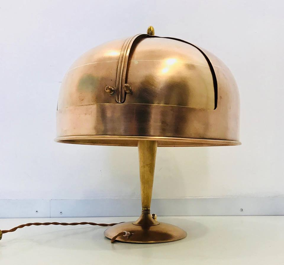 Art Deco Copper Table Lamp, 1930s