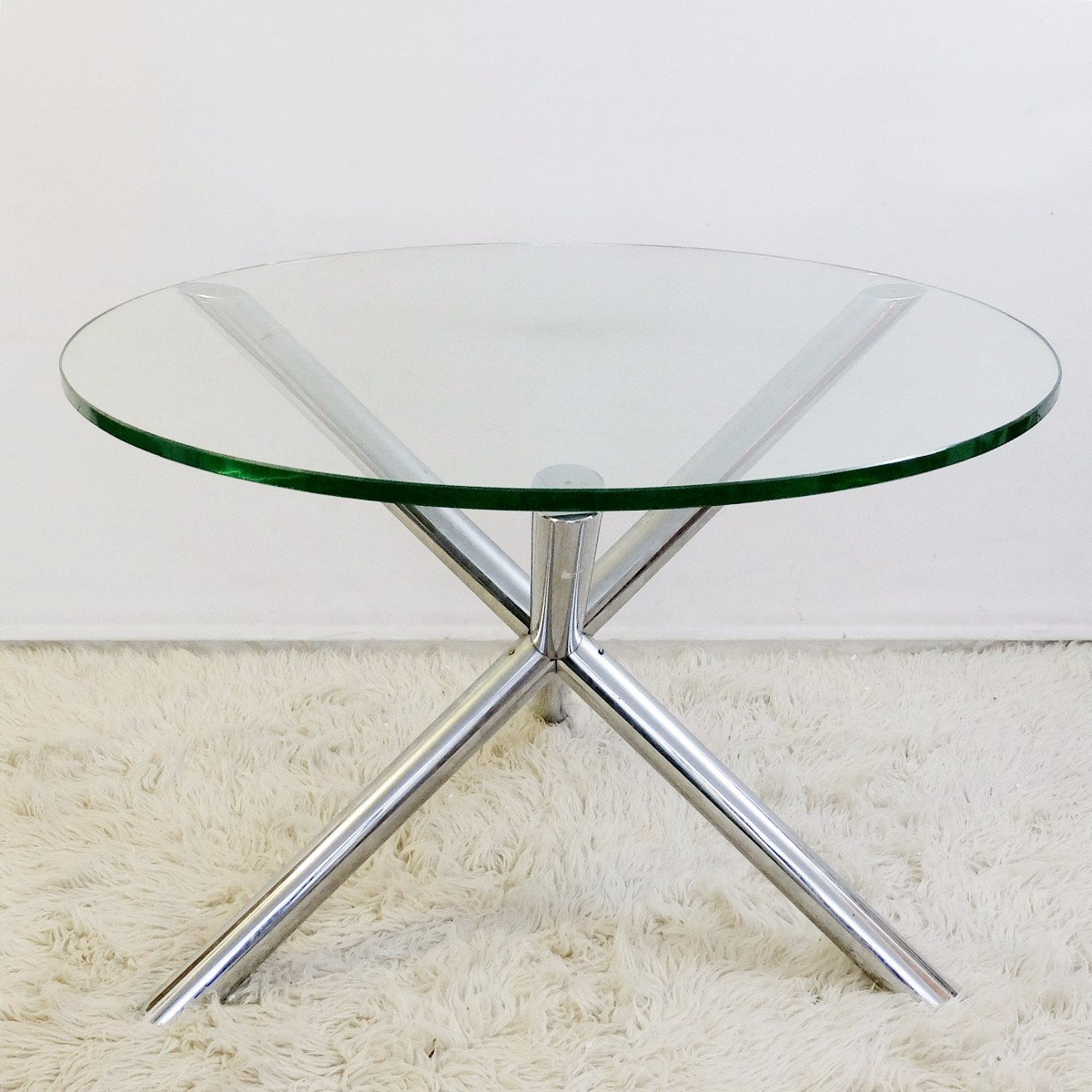 Small Round Glass And Chrome Dining Table, 1970s