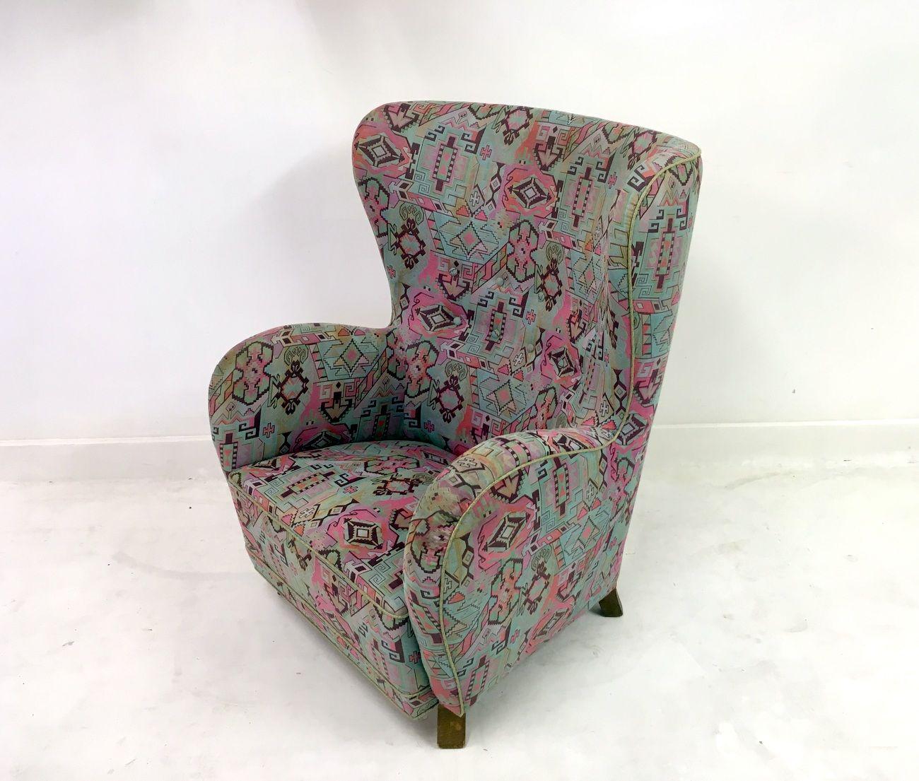fauteuil oreilles danemark 1940s en vente sur pamono. Black Bedroom Furniture Sets. Home Design Ideas