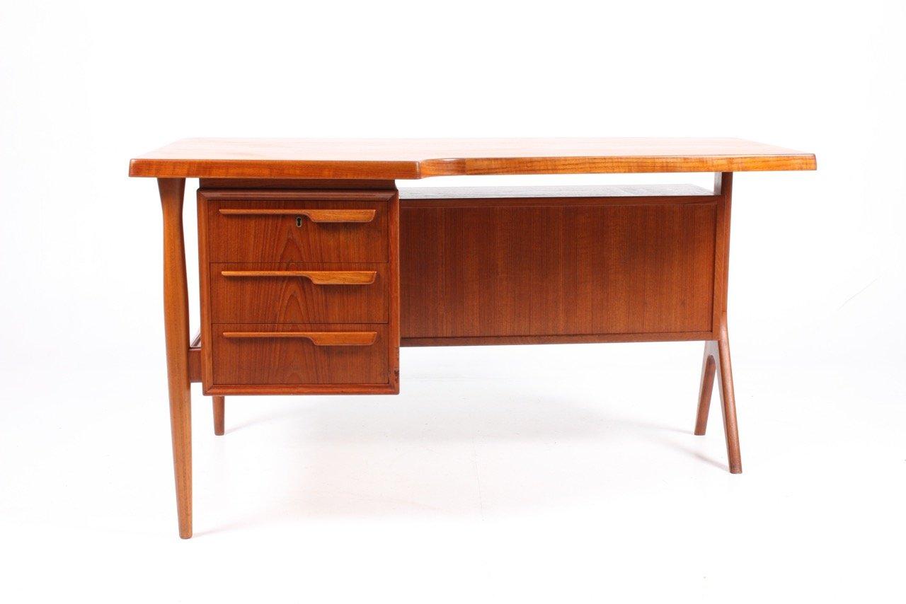 D nischer schreibtisch aus teak mit schrank 1950er bei for Schreibtisch 2 meter lang