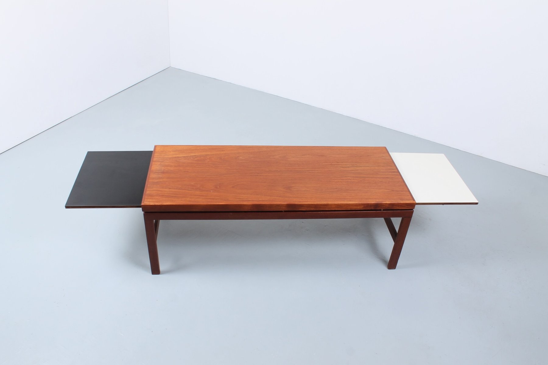 Extendable Teak Black & White Coffee Table 1950s for sale at Pamono