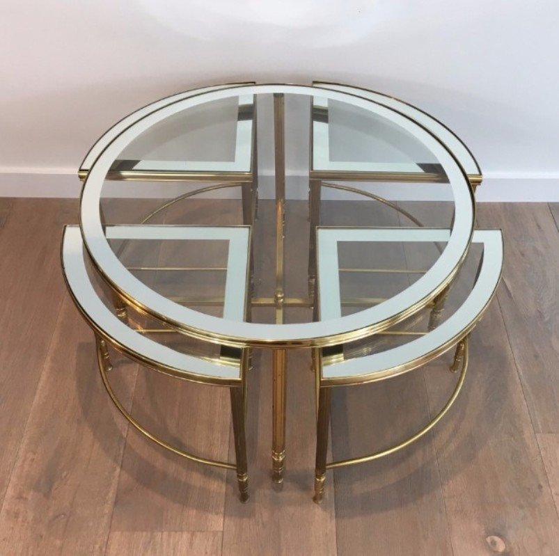 Round Brass Coffee Table & 4 Nesting Tables, 1960s For