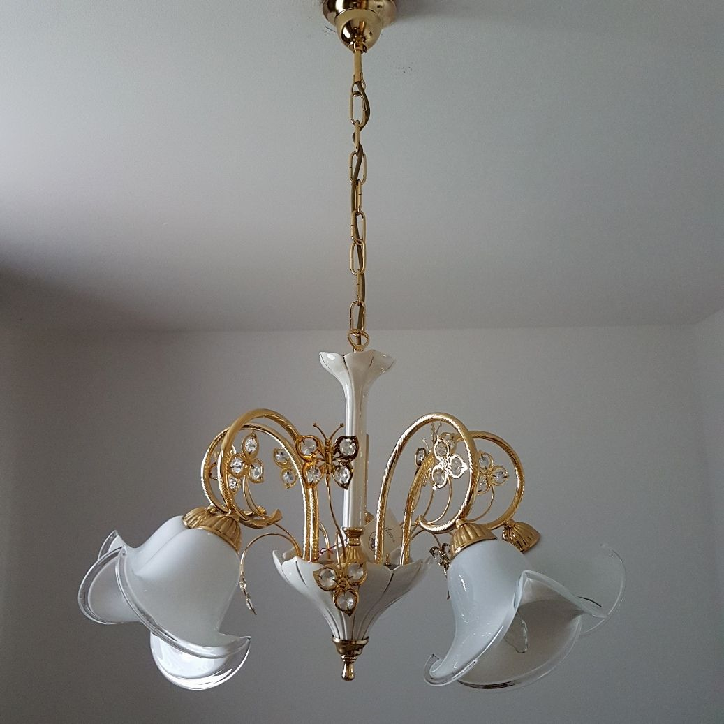 Murano glass swarovski crystal chandelier from b c san michele 1980s