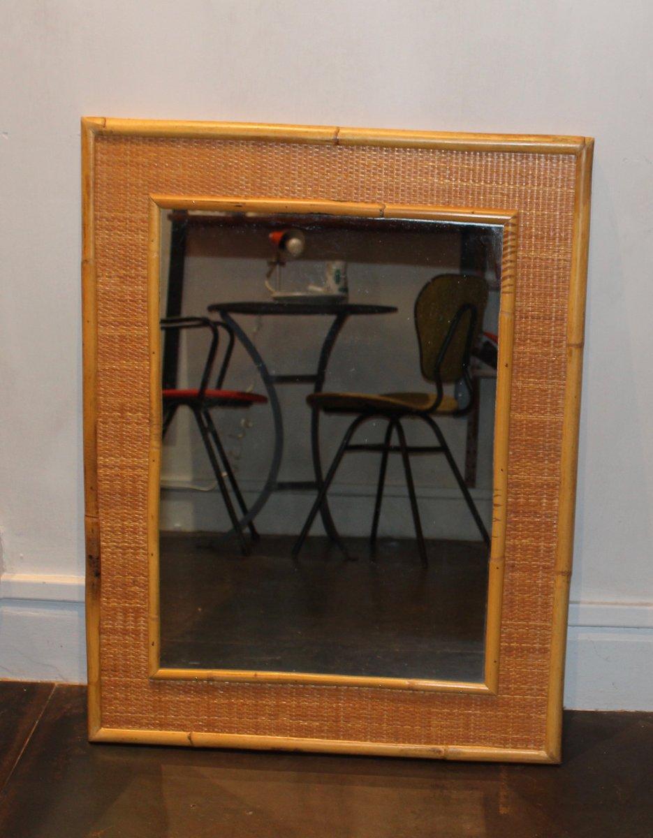 franz sischer vintage spiegel mit rahmen aus bambus bei pamono kaufen. Black Bedroom Furniture Sets. Home Design Ideas