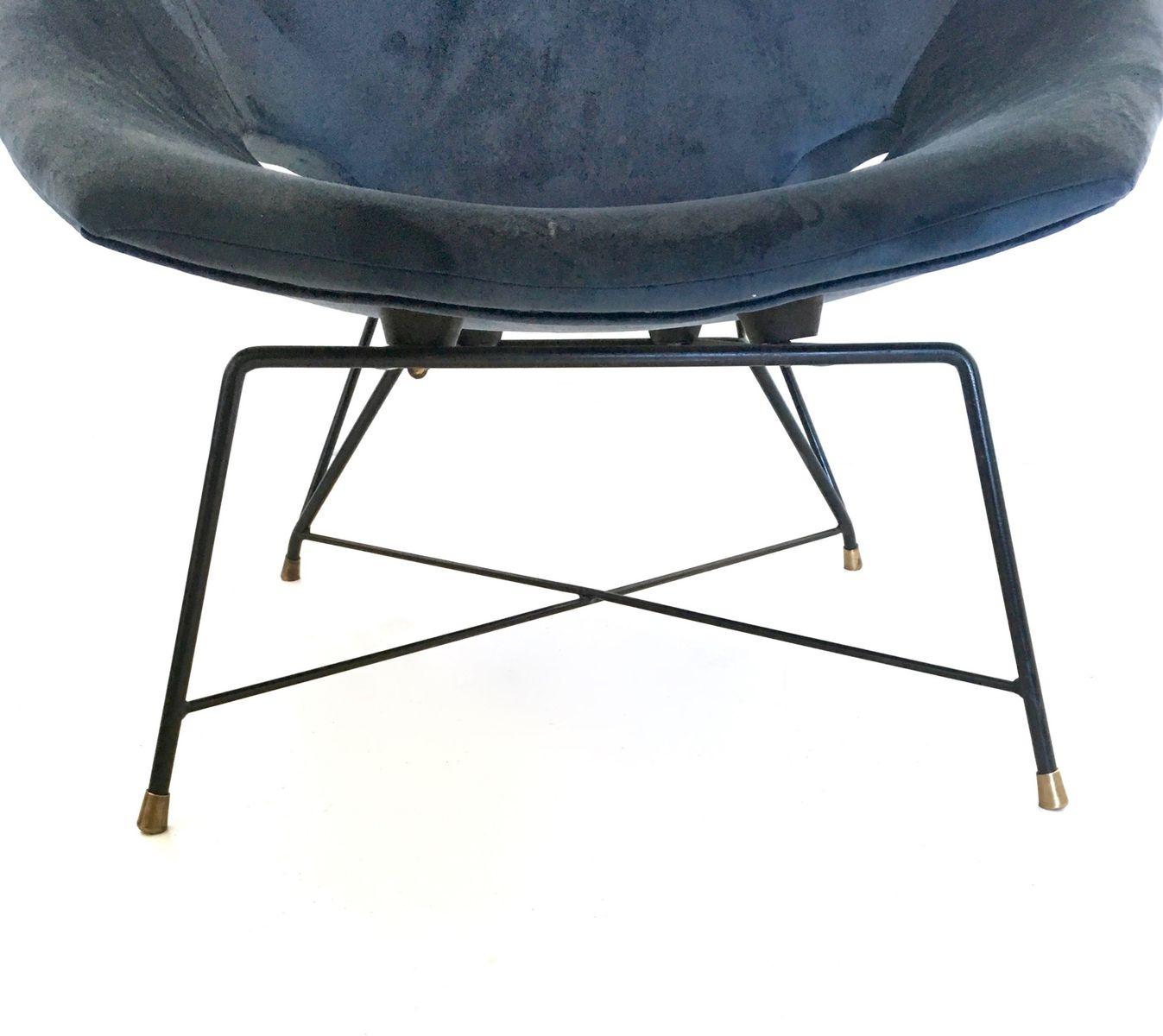 blaue samt polsterst hle von augusto bozzi f r saporiti. Black Bedroom Furniture Sets. Home Design Ideas