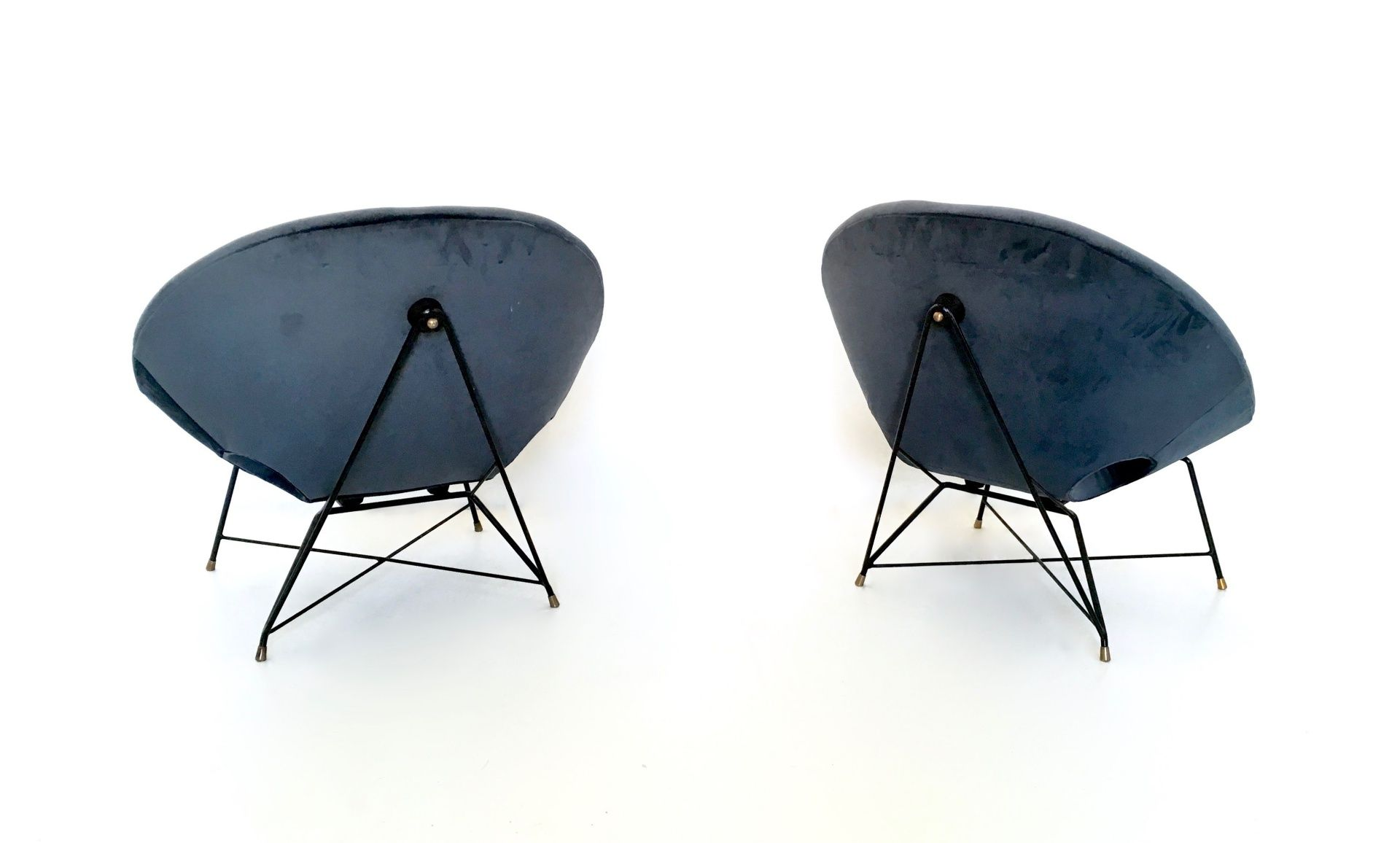 Blue Velvet Lounge Chairs by Augusto Bozzi for Saporiti 1950s
