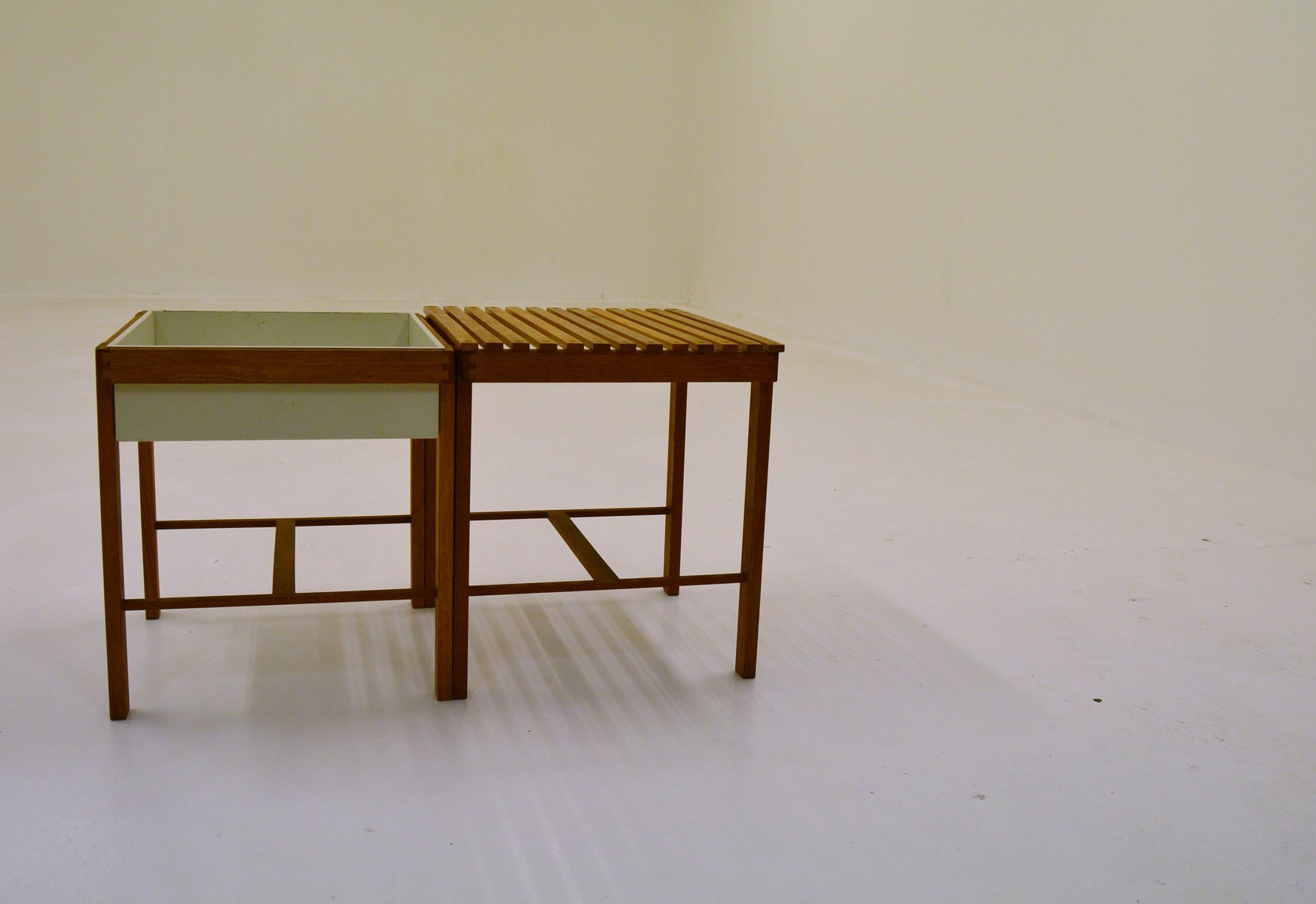 oak side table. Oak Side Table And Planter, 1950s