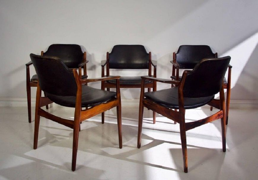 mid century modell 62 a st hle aus schwarzem leder von arne vodder f r sibast 5er set bei. Black Bedroom Furniture Sets. Home Design Ideas
