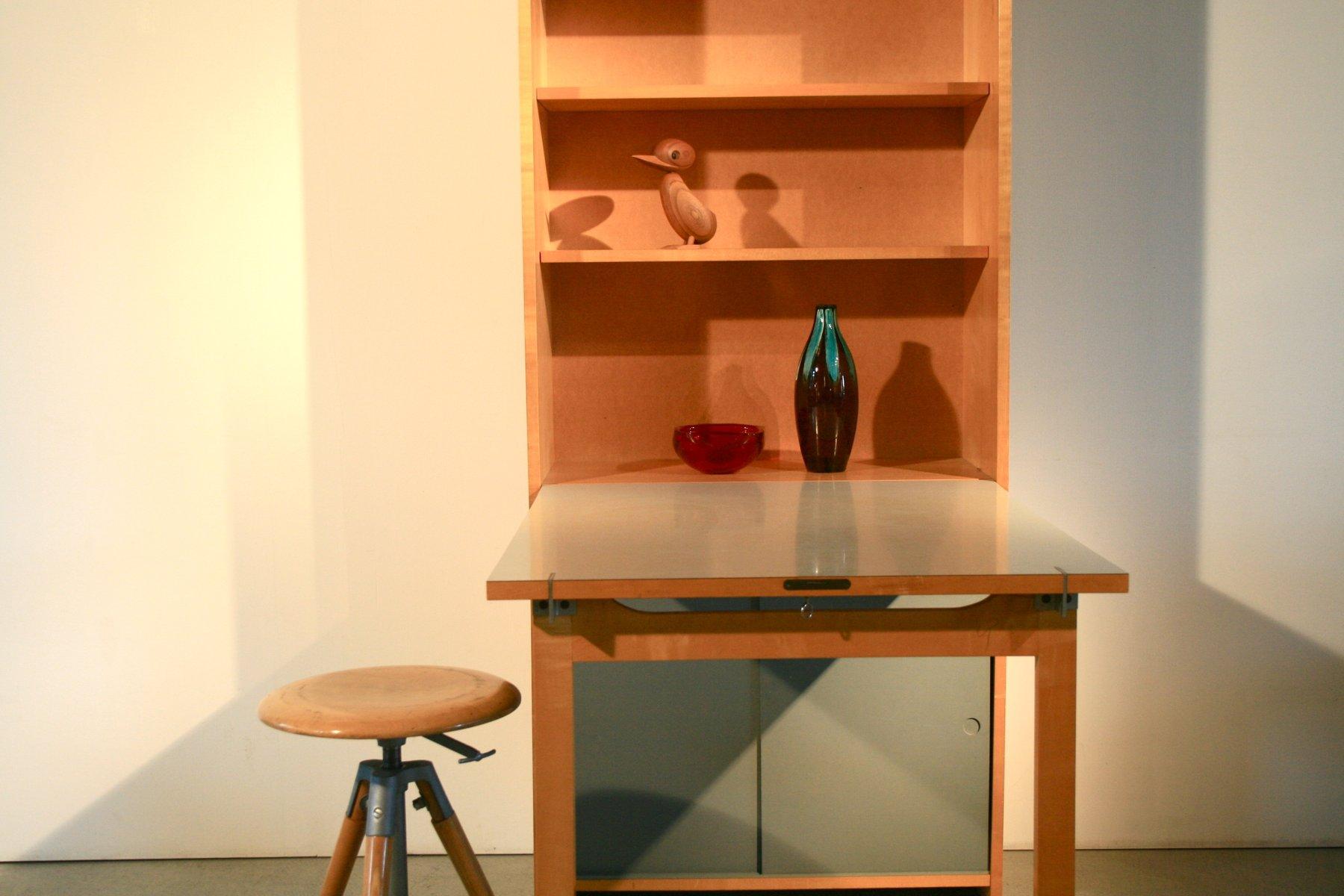 vintage shelving unit with folding table by emil guhl for. Black Bedroom Furniture Sets. Home Design Ideas