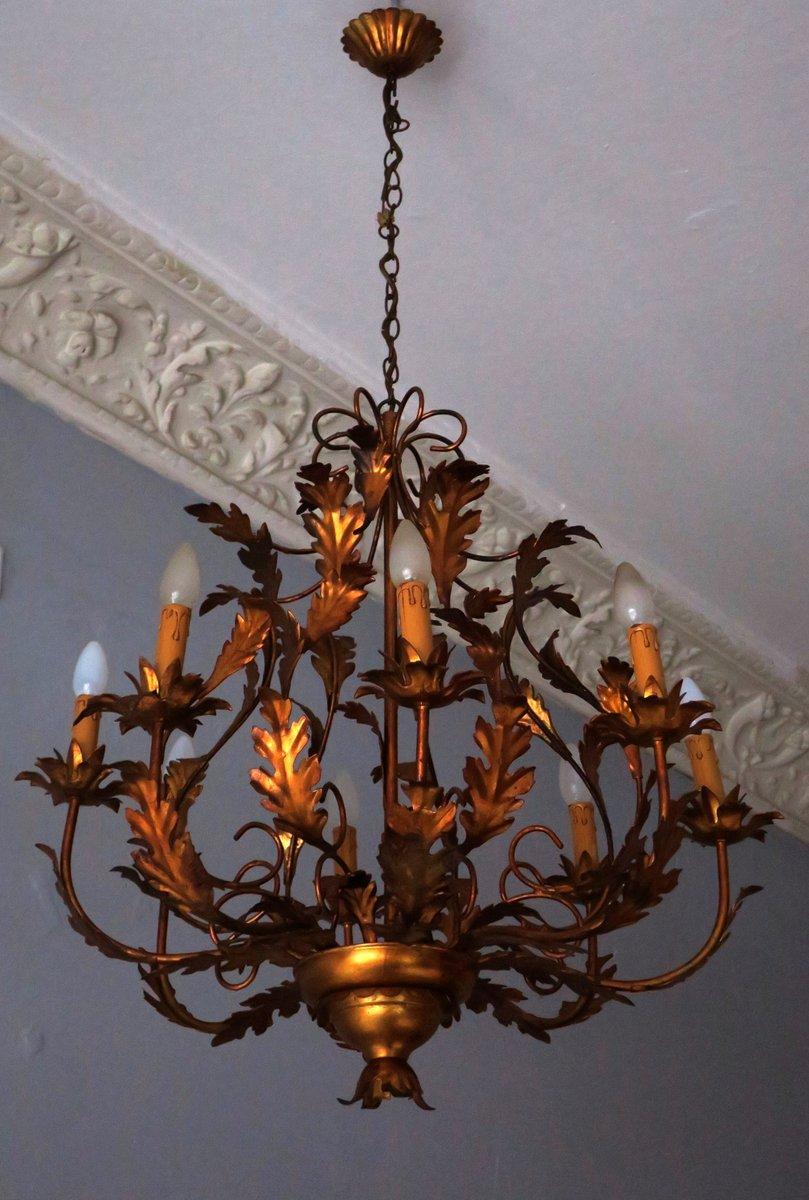 Large hollywood regency gilt tole chandelier with 8 lights 1970s large hollywood regency gilt tole chandelier with 8 lights 1970s mozeypictures Image collections