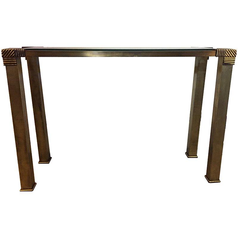 tisch aus messing glas 1970er bei pamono kaufen. Black Bedroom Furniture Sets. Home Design Ideas