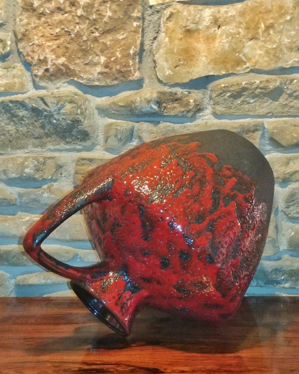 Bodenvase Rot vintage 401 40 bodenvase mit glasur in schwarz rot heinz martin für jopeko keramic bei