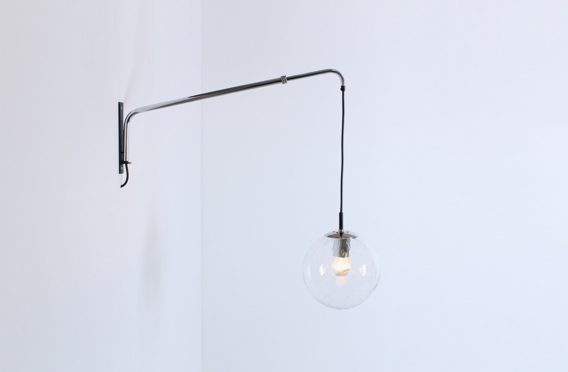 Vintage Adjustable Wall Mounted Light With A Bubble Glass Globe From Raak  For Sale At Pamono