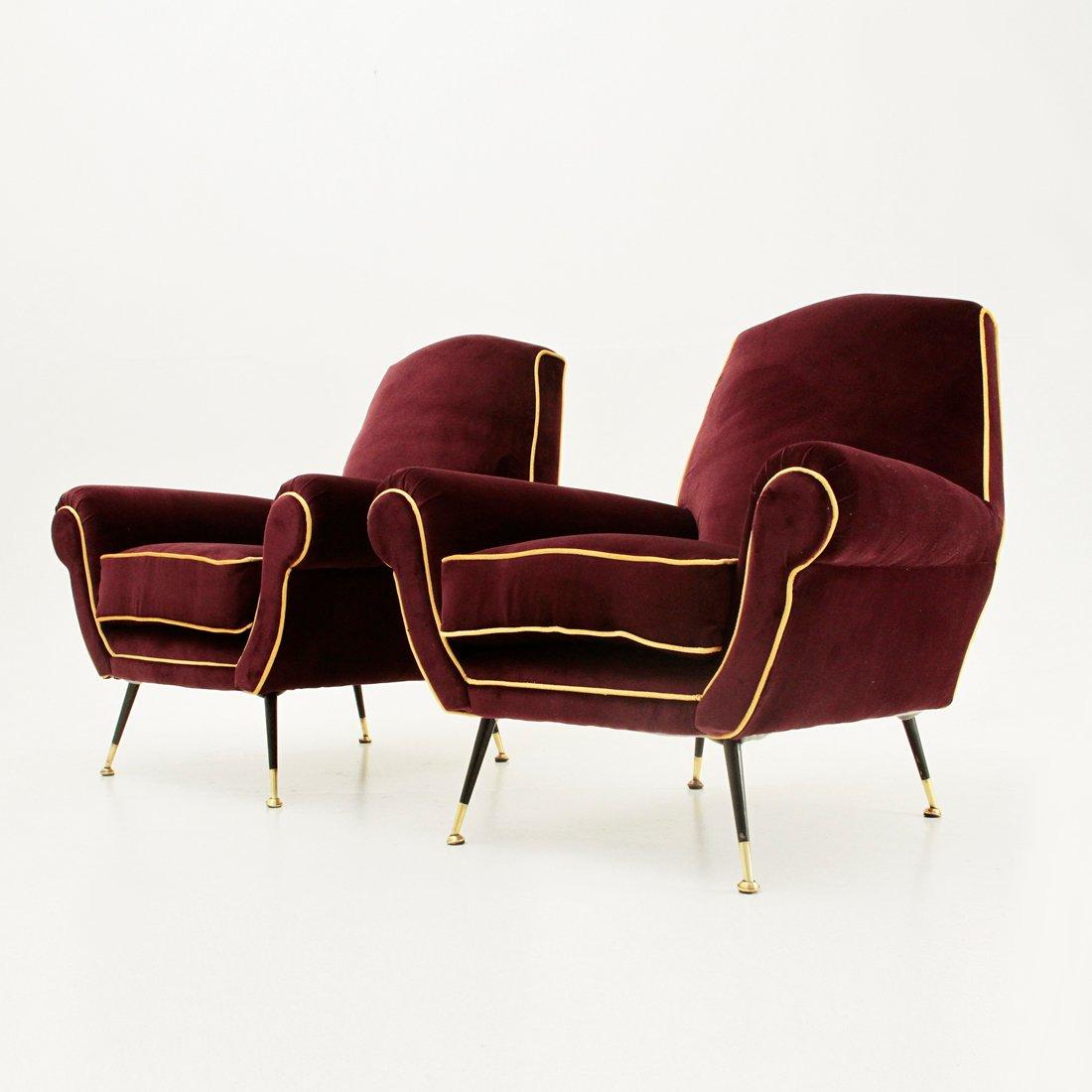 italienische sessel aus samt 1950er 2er et bei pamono kaufen. Black Bedroom Furniture Sets. Home Design Ideas