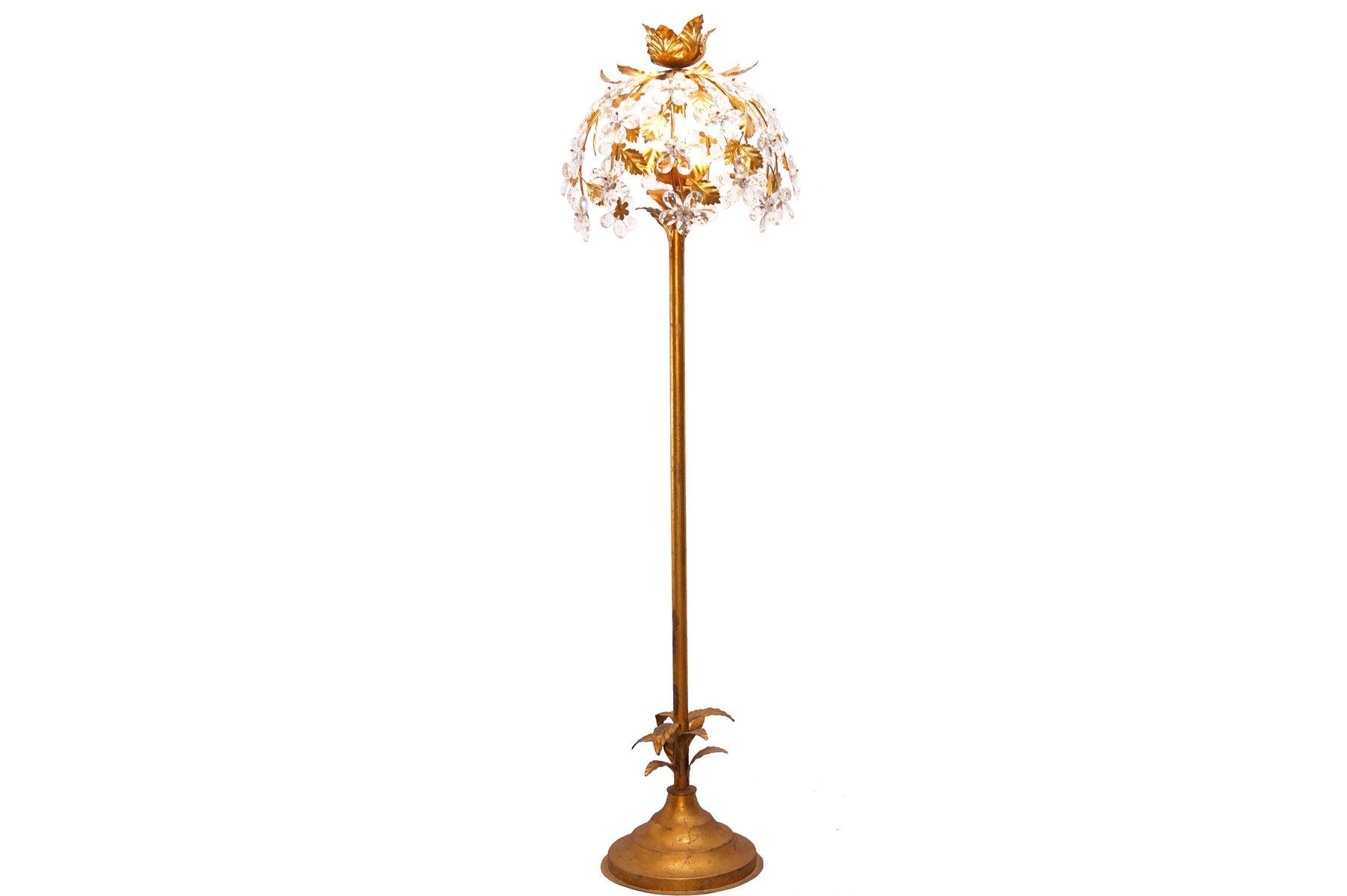 Vintage hollywood regency gilt floor lamp for sale at pamono for Retro hollywood floor lamp