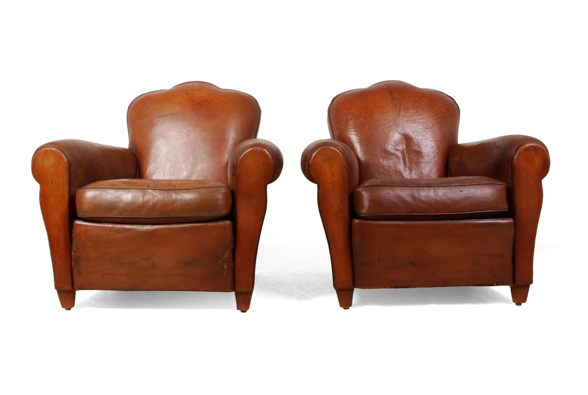 Beautiful French Leather Club Chairs, 1930s, Set Of 2