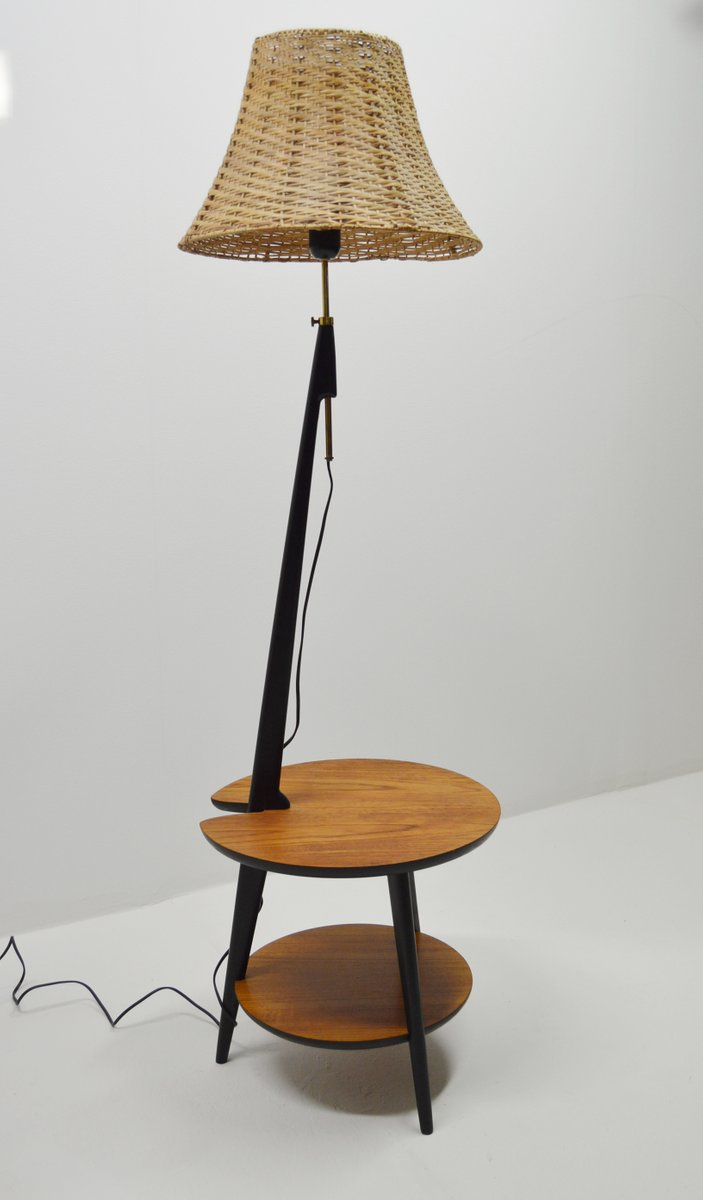 Teak Floor Lamp With Integrated Side Table, 1960s