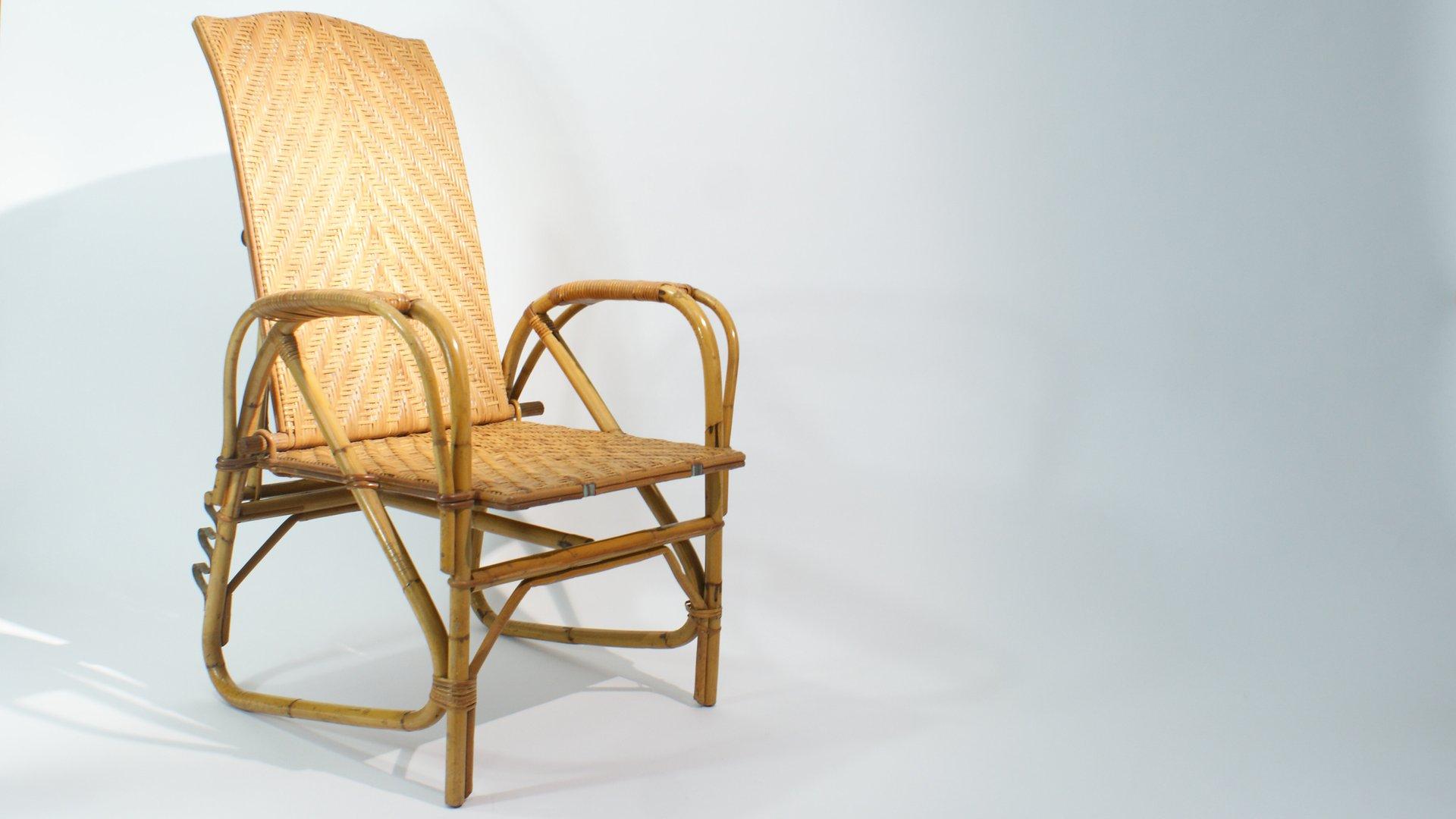 verstellbare rattan und bambus liege 1940er bei pamono kaufen. Black Bedroom Furniture Sets. Home Design Ideas